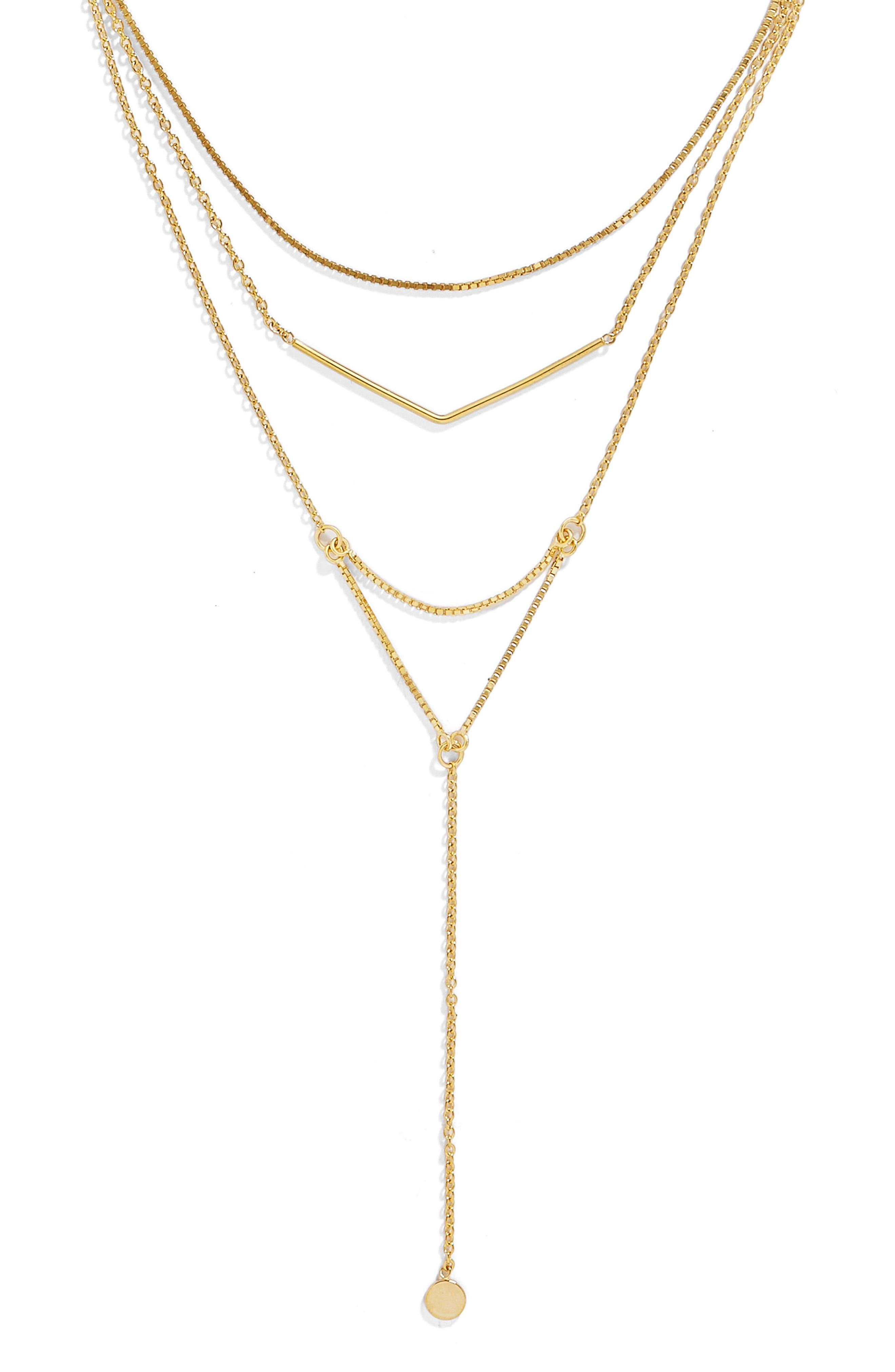 Tris Everyday Connected Y 18-Karat Gold Plate Necklace,                             Alternate thumbnail 2, color,                             710