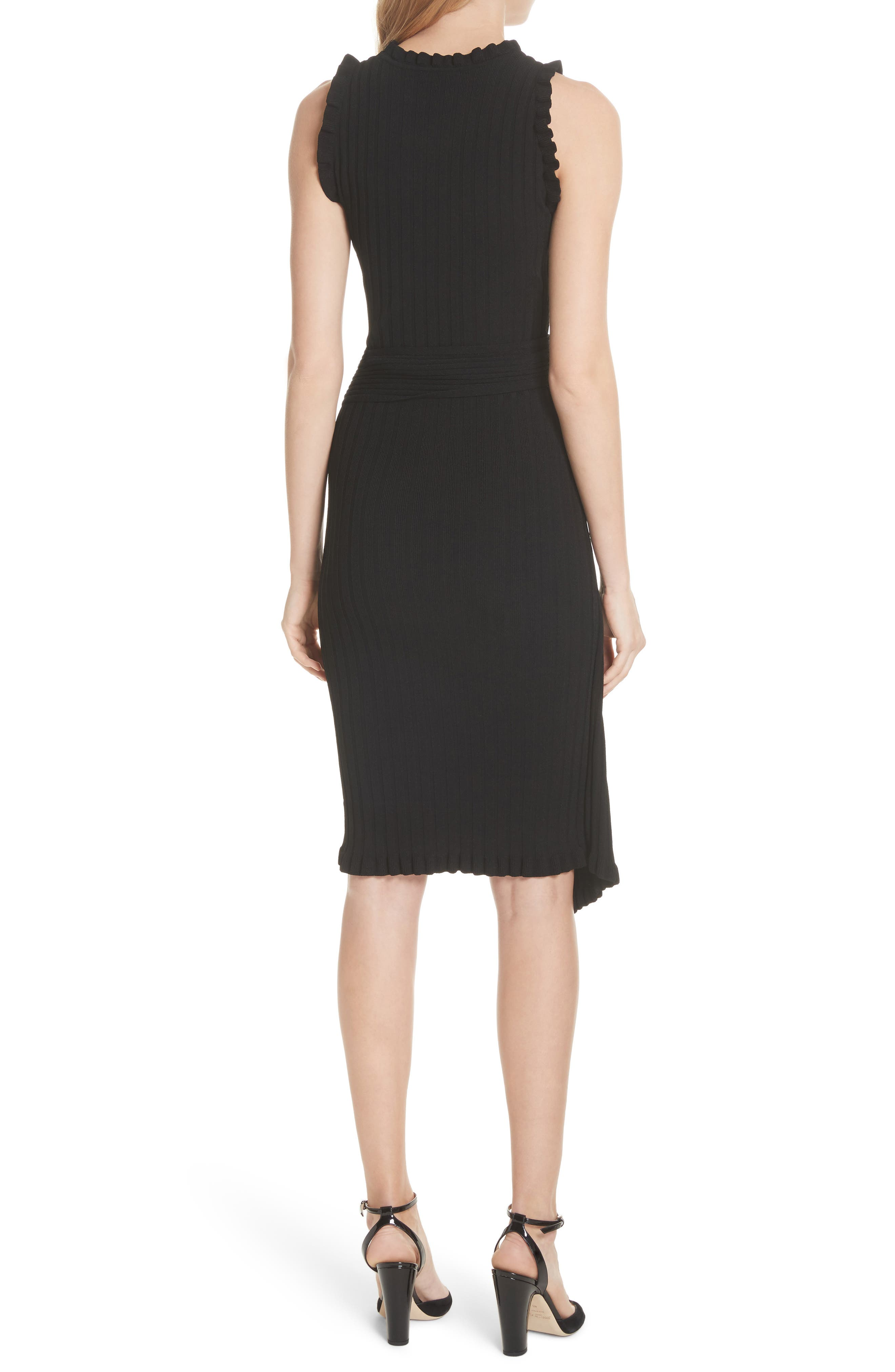 Ribbed Tie Waist Sweater Dress,                             Alternate thumbnail 2, color,                             001