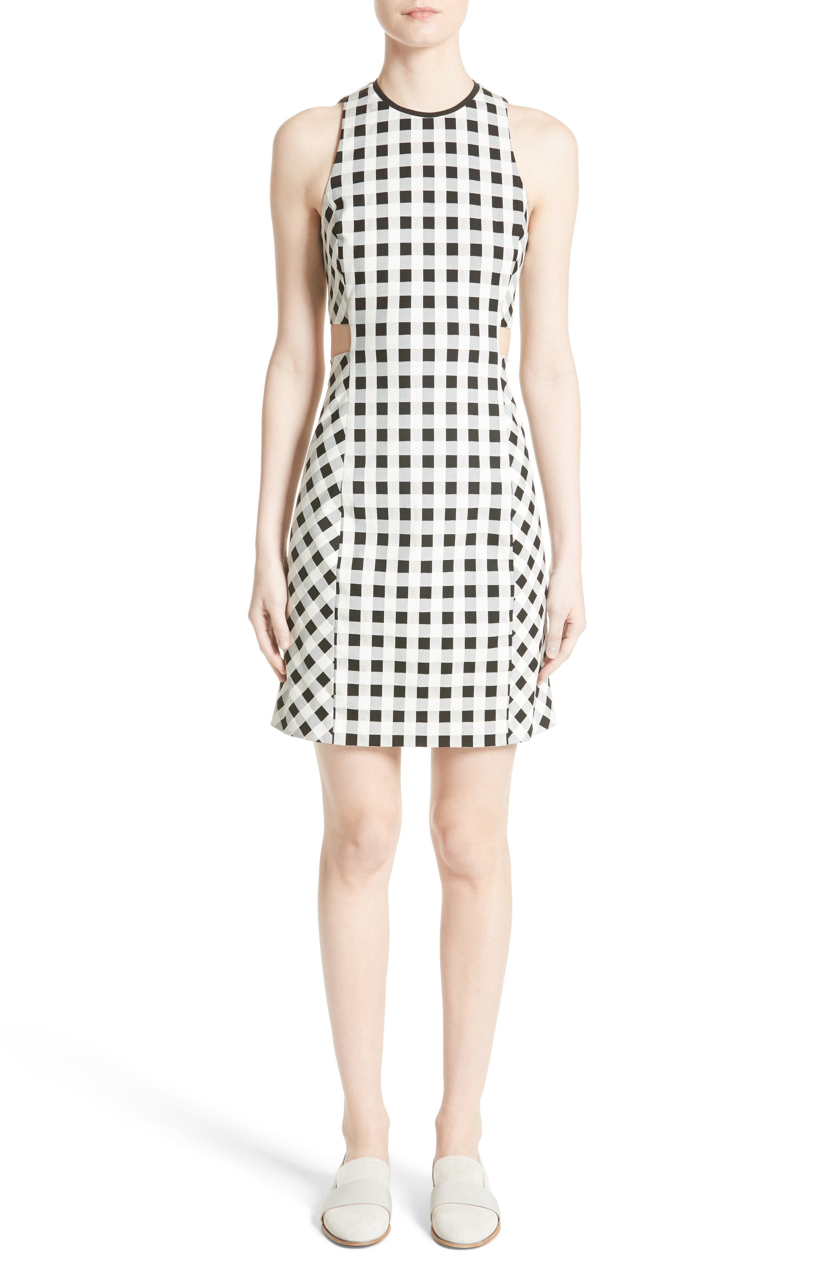 Tahoe Gingham Dress,                         Main,                         color, BLACK/ WHITE