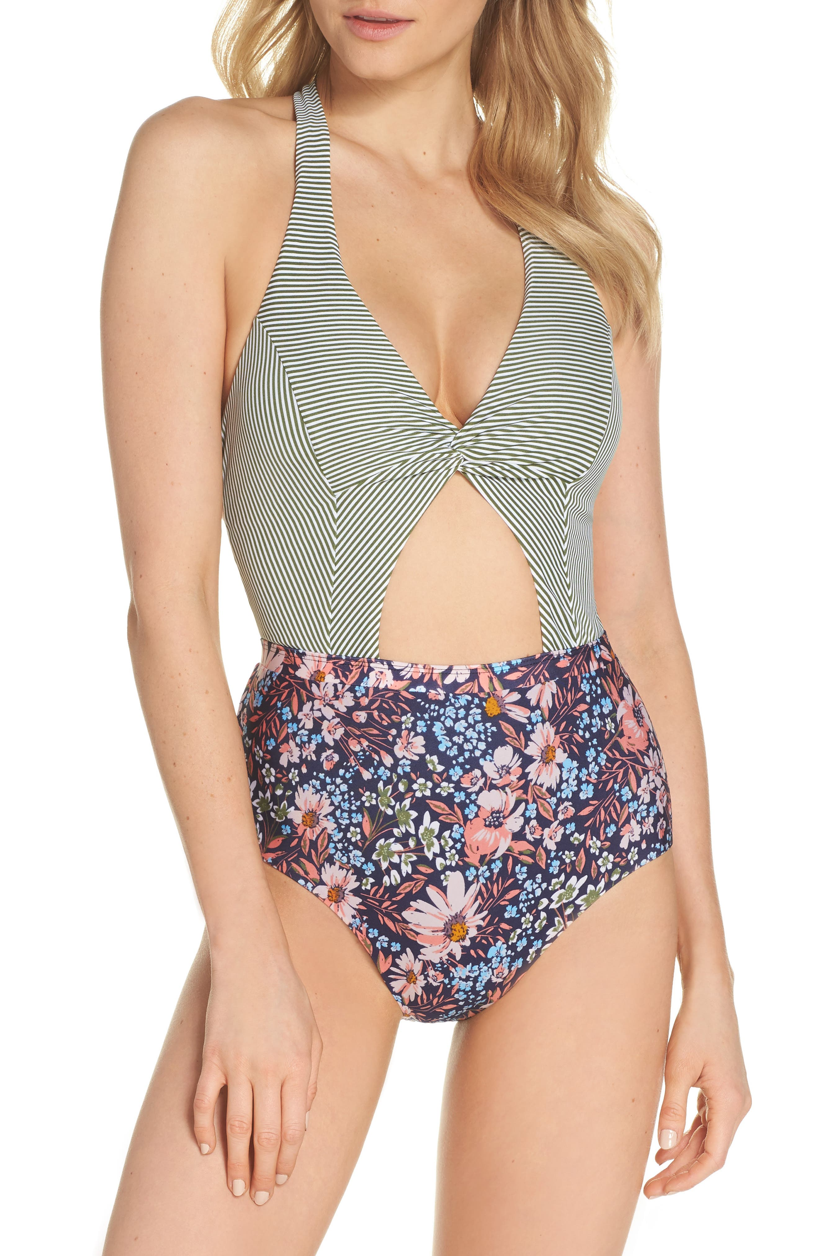 Enchanted One-Piece Swimsuit,                             Main thumbnail 1, color,                             OLIVE MULTI