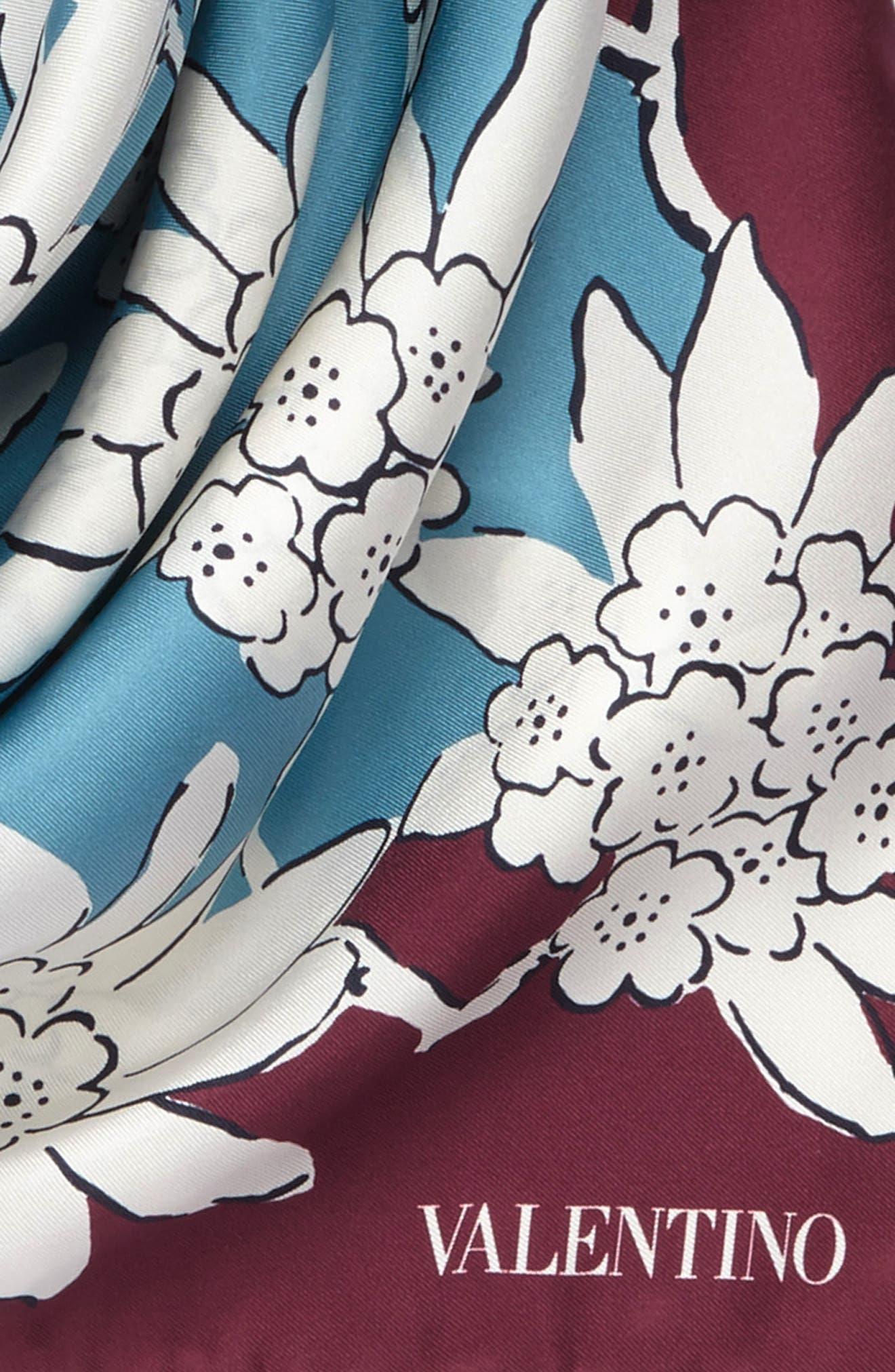 GARAVANI Rhododenron Square Silk Scarf,                             Alternate thumbnail 3, color,                             400