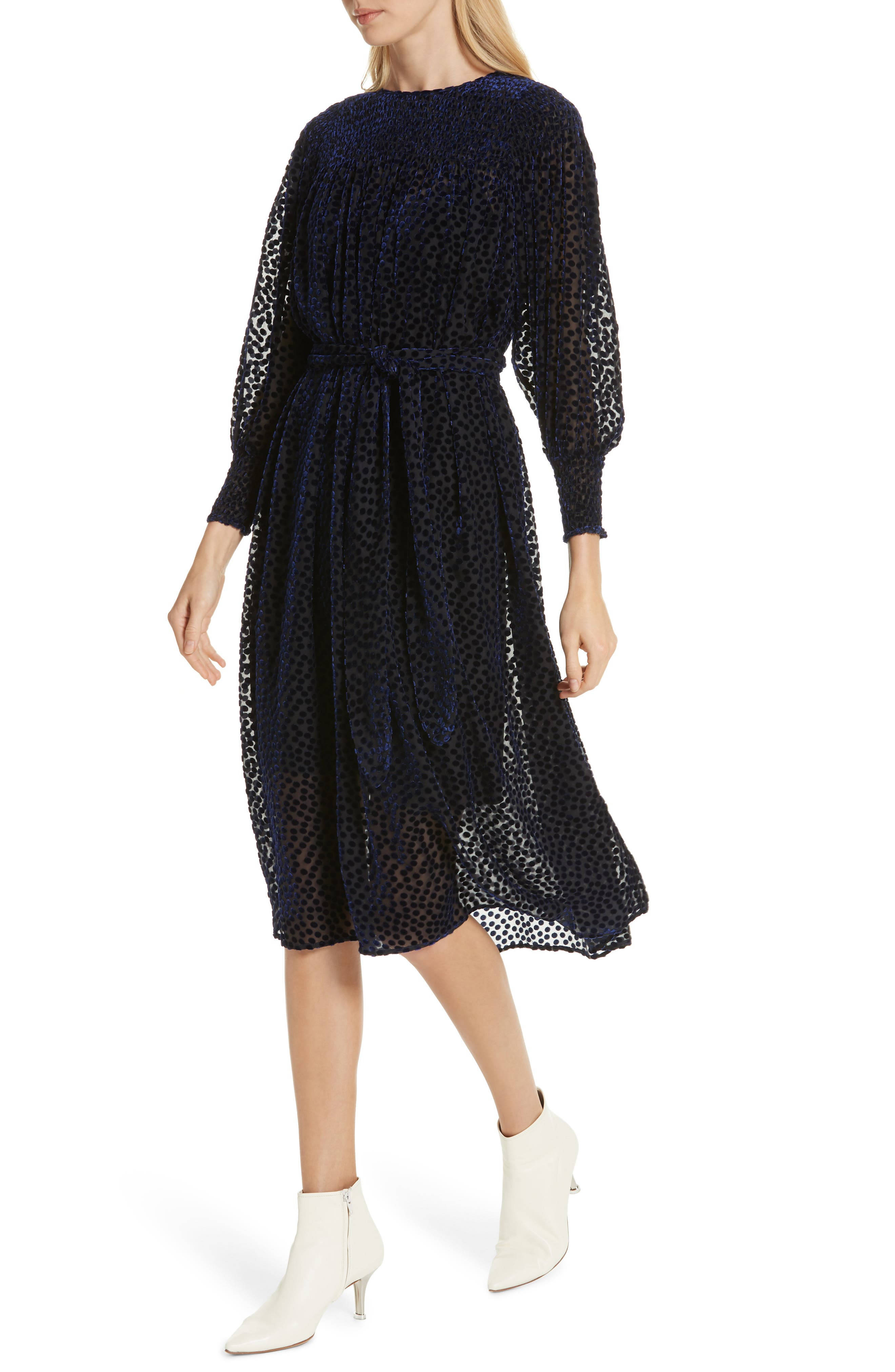 The Merry Velvet Burnout Dress,                             Alternate thumbnail 4, color,                             NAVY
