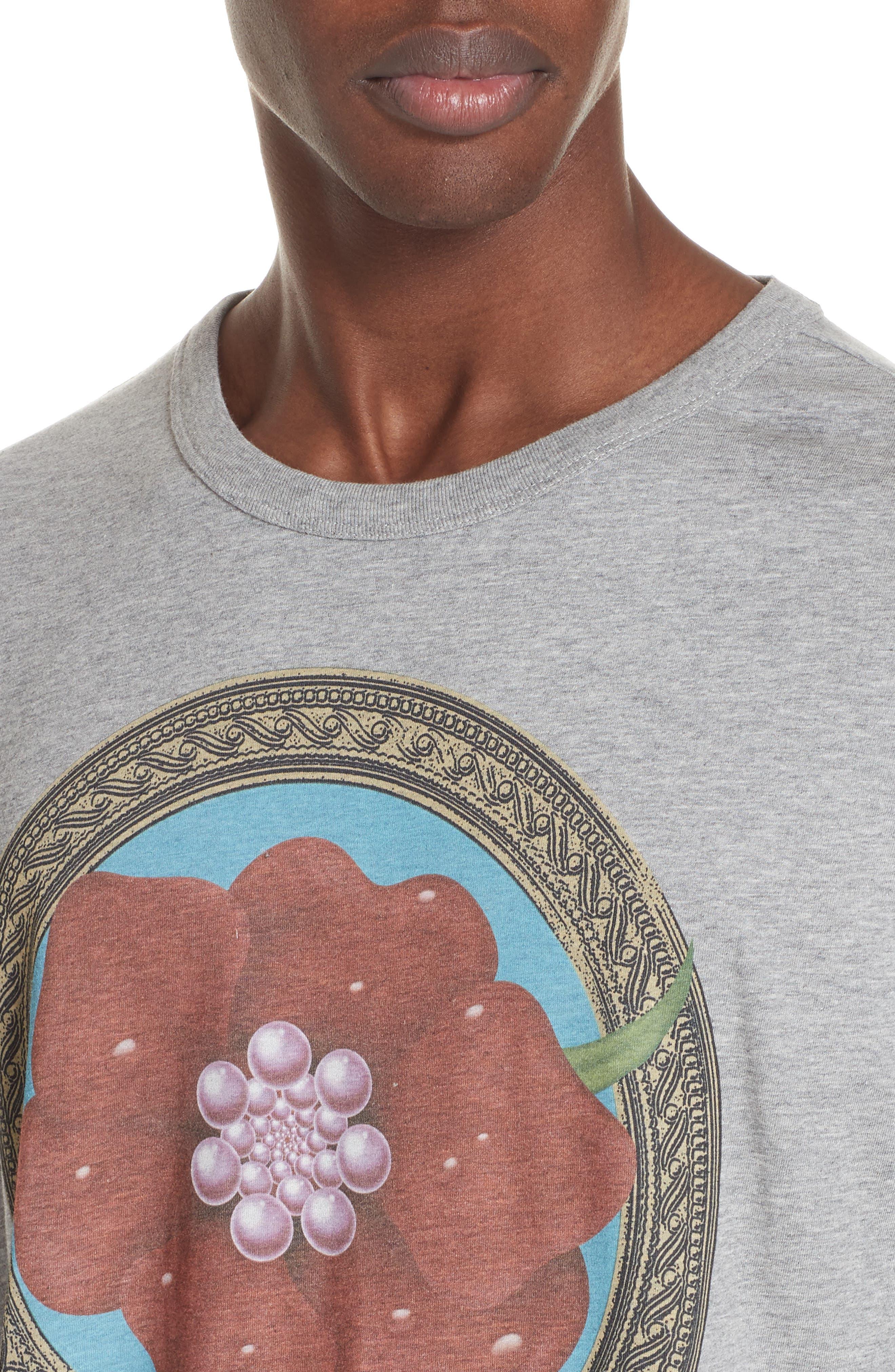 Flower Print T-Shirt,                             Alternate thumbnail 4, color,                             GREY MEL