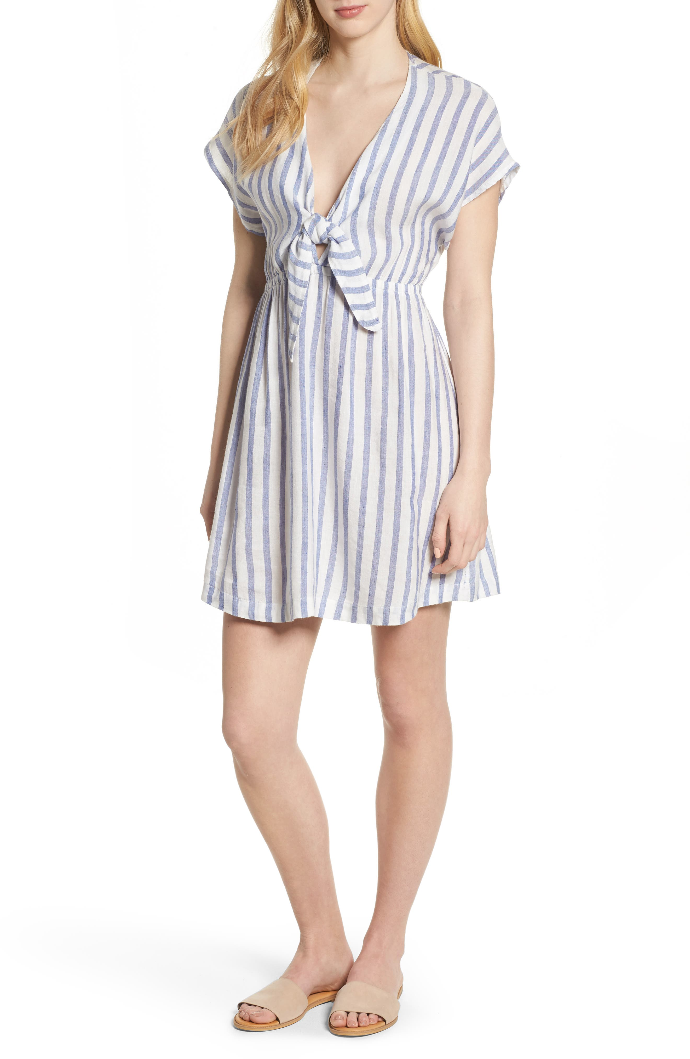Stripe Tie Front Dress,                             Main thumbnail 1, color,                             GRENADINES STRIPE