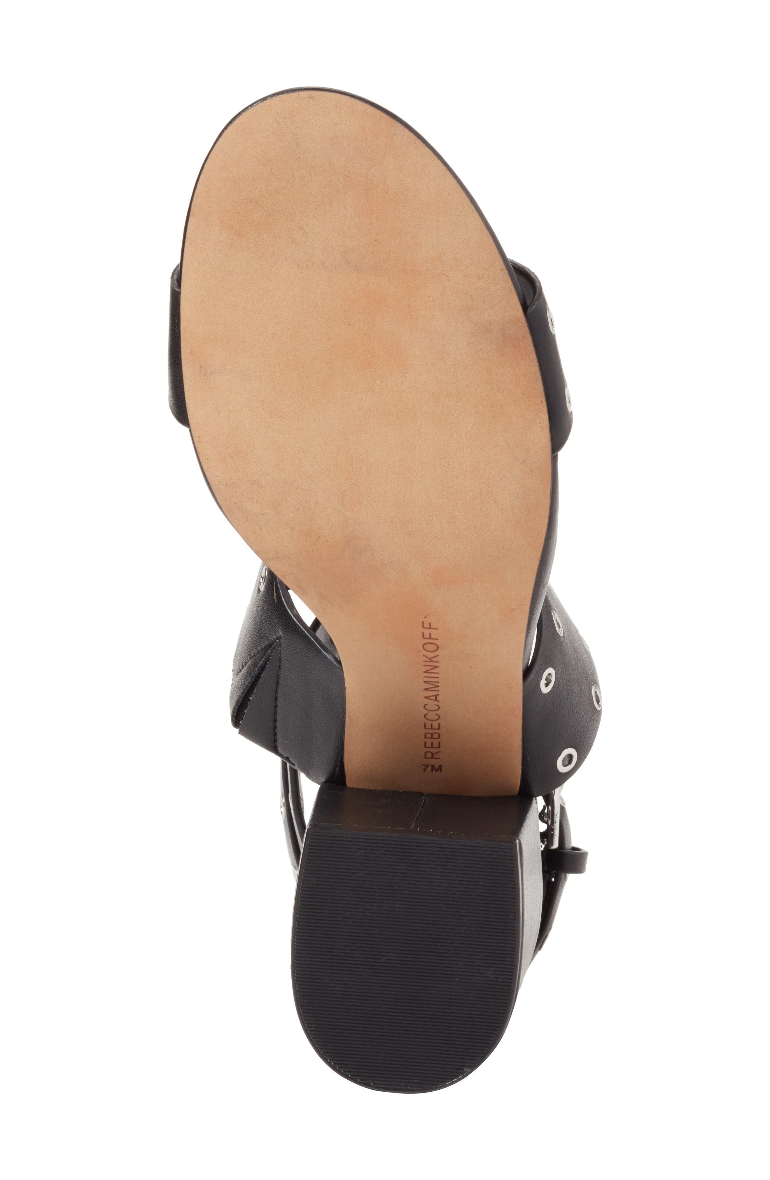 Carter Grommet Sandal,                             Alternate thumbnail 6, color,                             BLACK CALF LEATHER