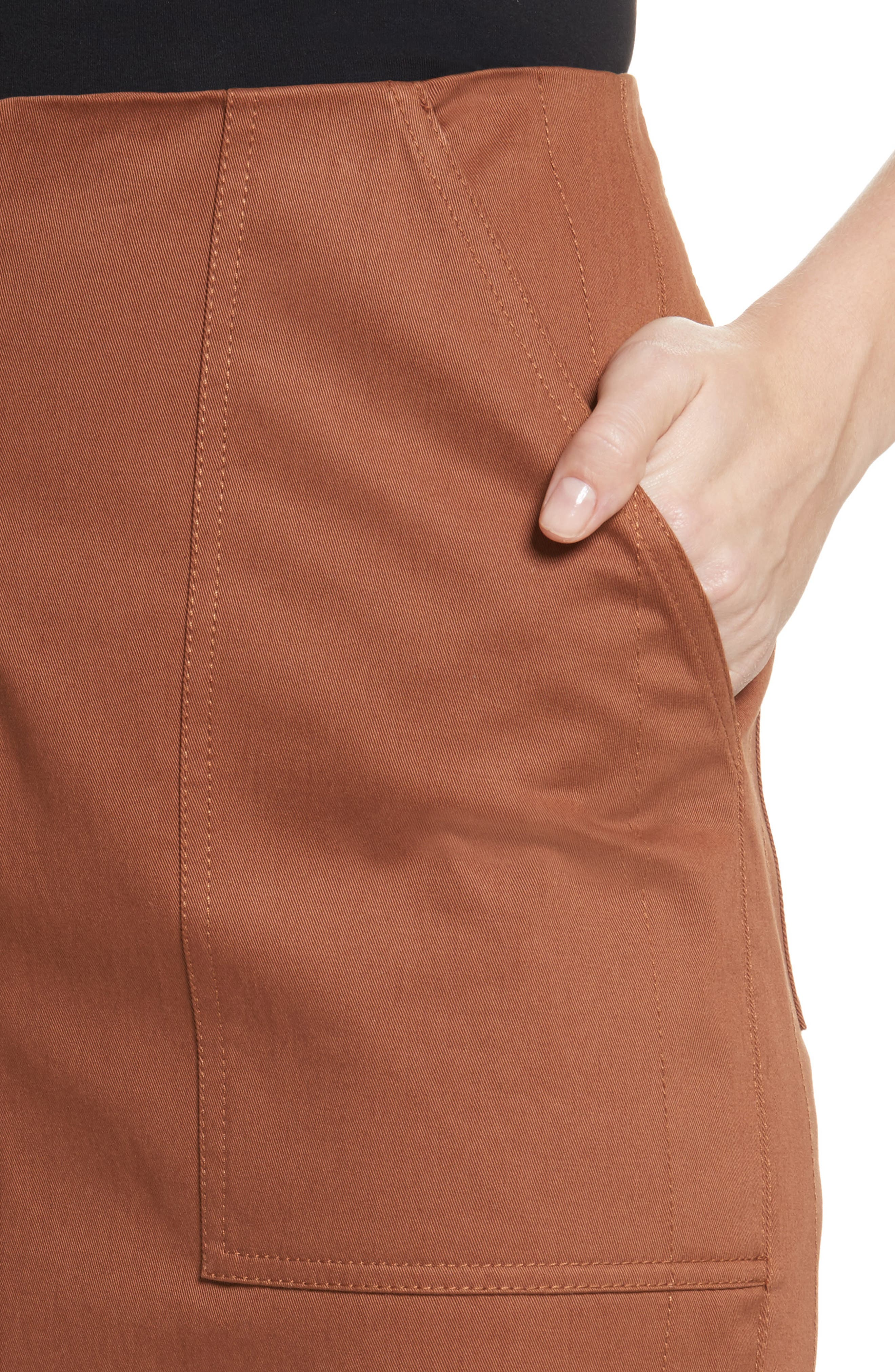 Diane von Furstenberg Midi Twill Pencil Skirt,                             Alternate thumbnail 4, color,                             203