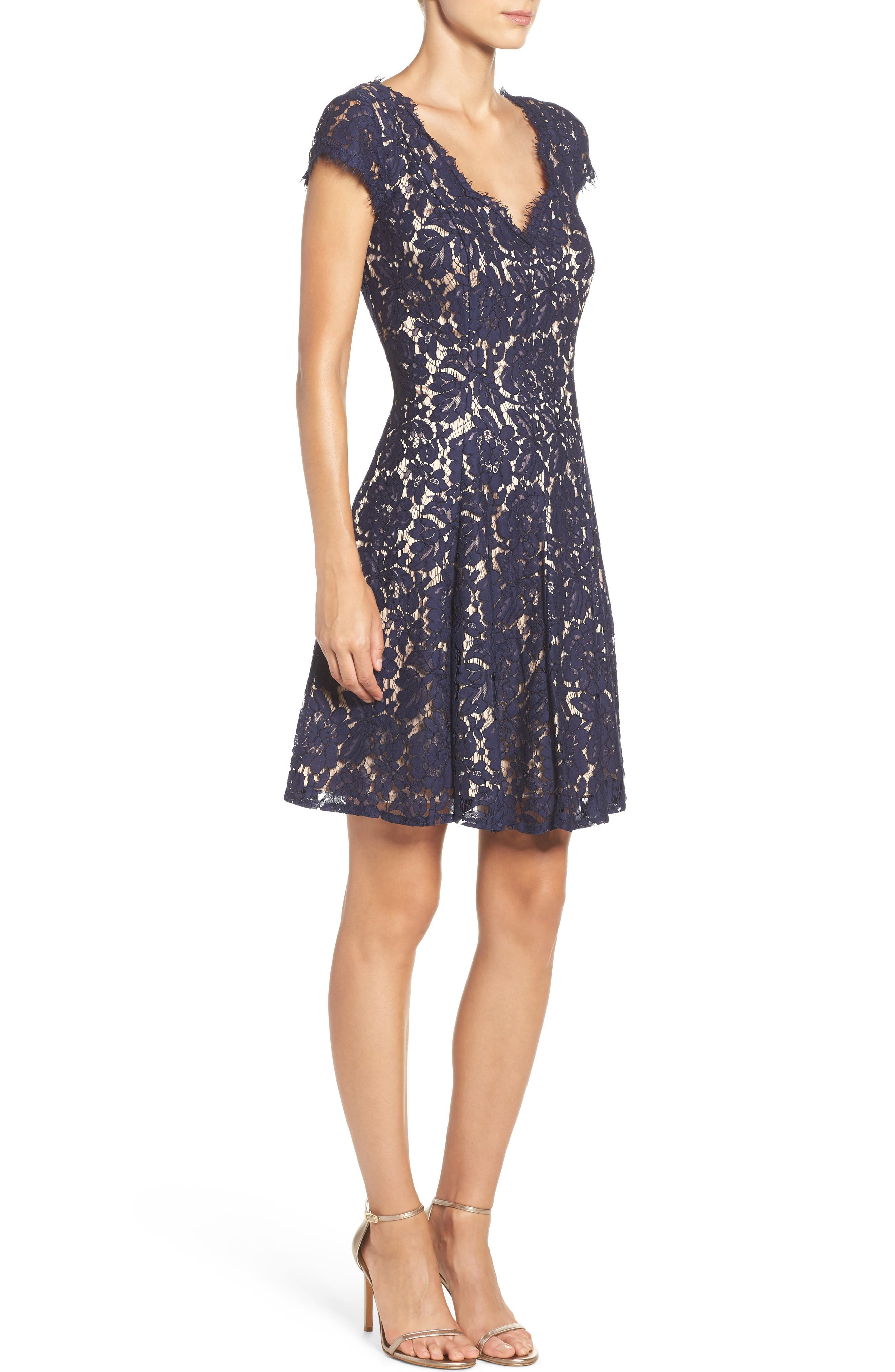 Lace Fit & Flare Dress,                             Alternate thumbnail 3, color,                             410