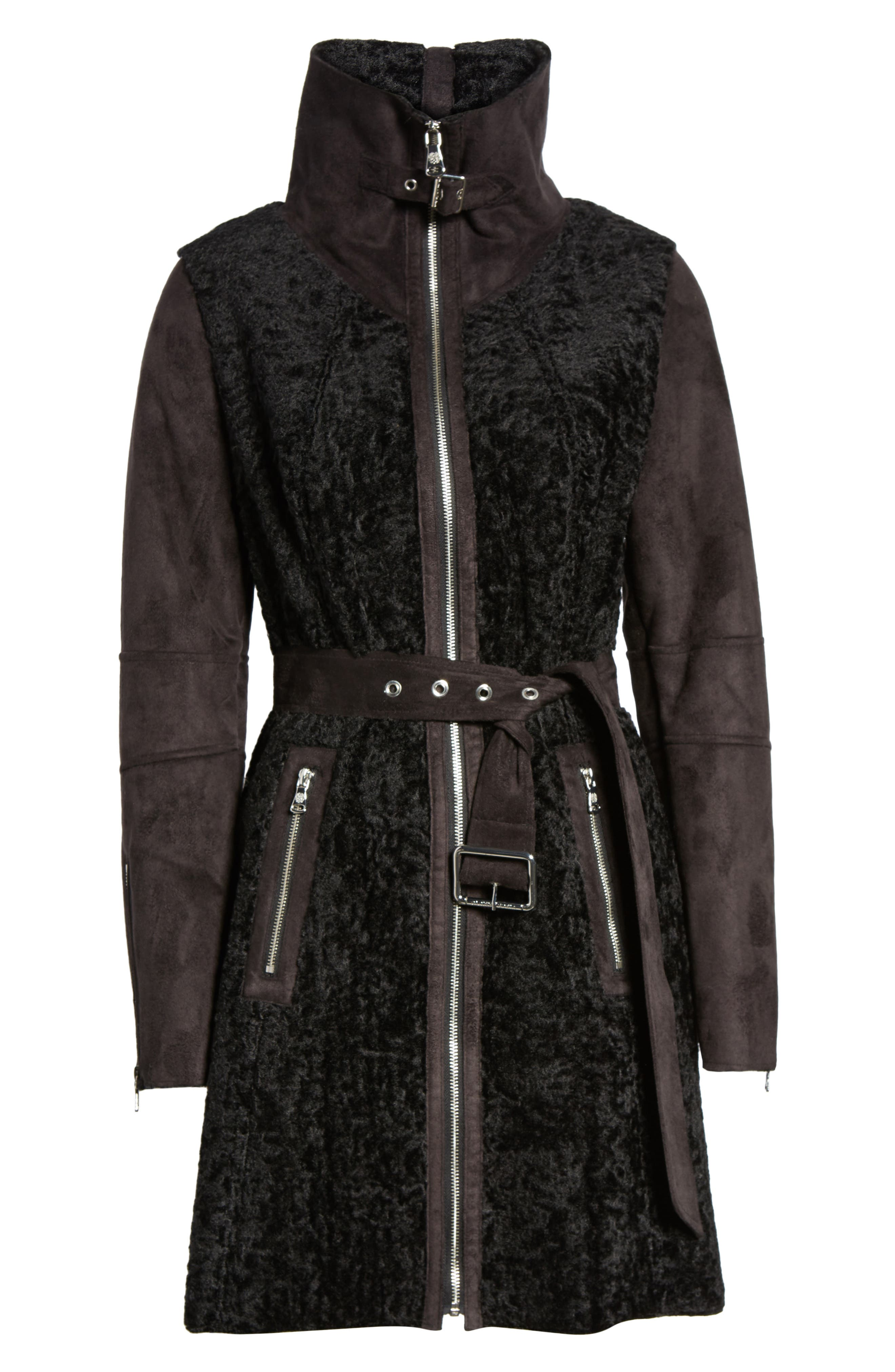 Faux Shearling Coat,                             Alternate thumbnail 5, color,                             001
