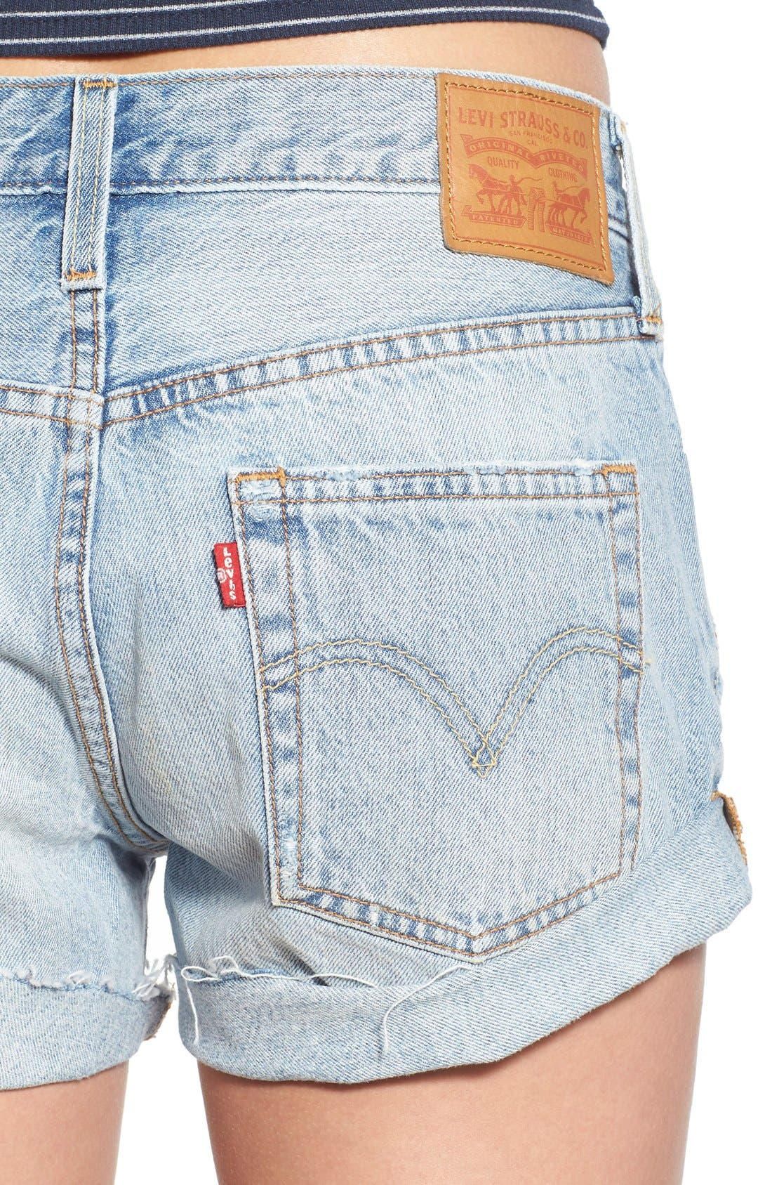 LEVI'S<SUP>®</SUP>,                             '501<sup>®</sup> Customized' Distressed Rolled Denim Shorts,                             Alternate thumbnail 2, color,                             401
