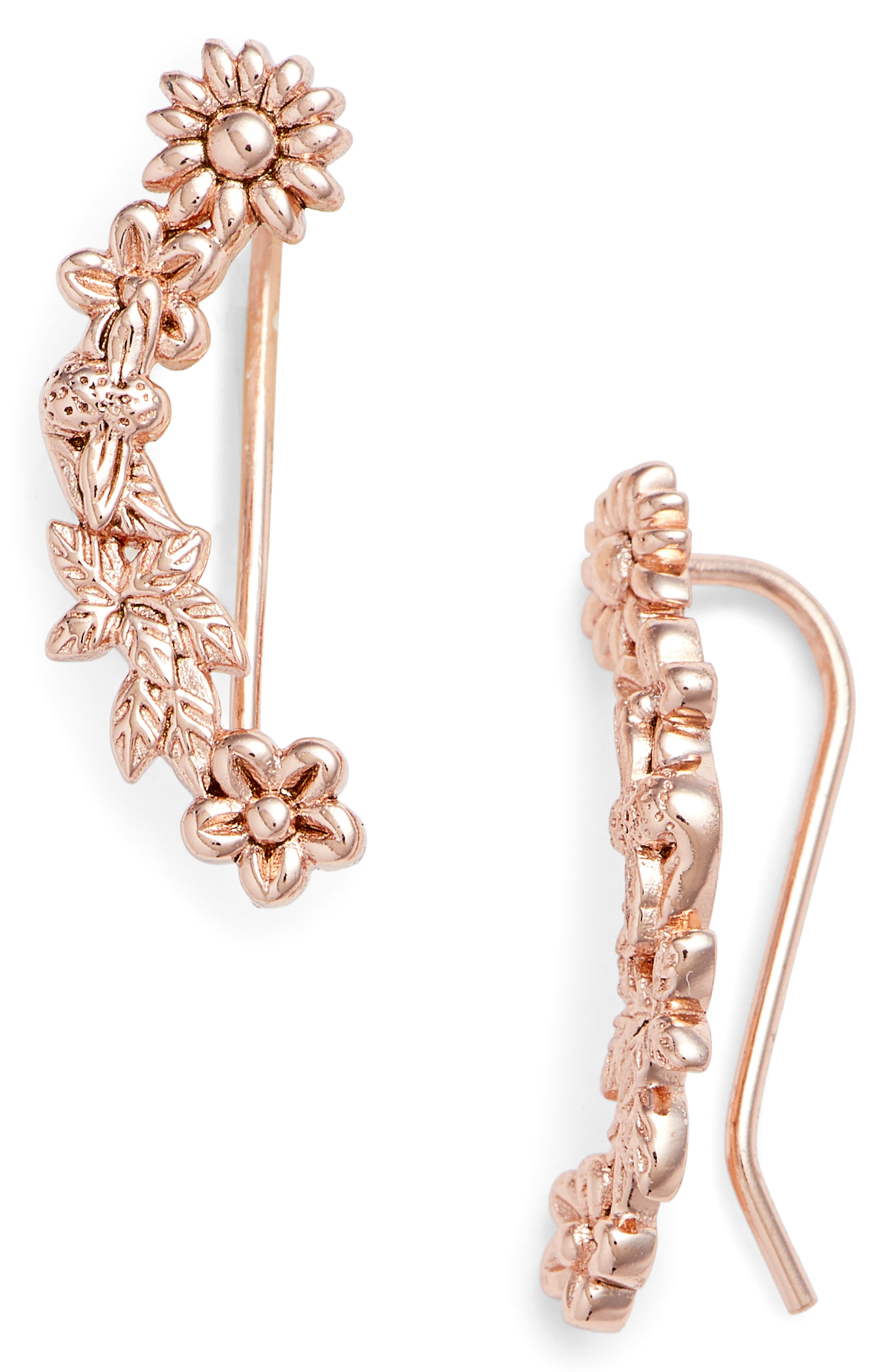Bee Blooms Crawler Earrings,                             Main thumbnail 1, color,                             ROSE GOLD