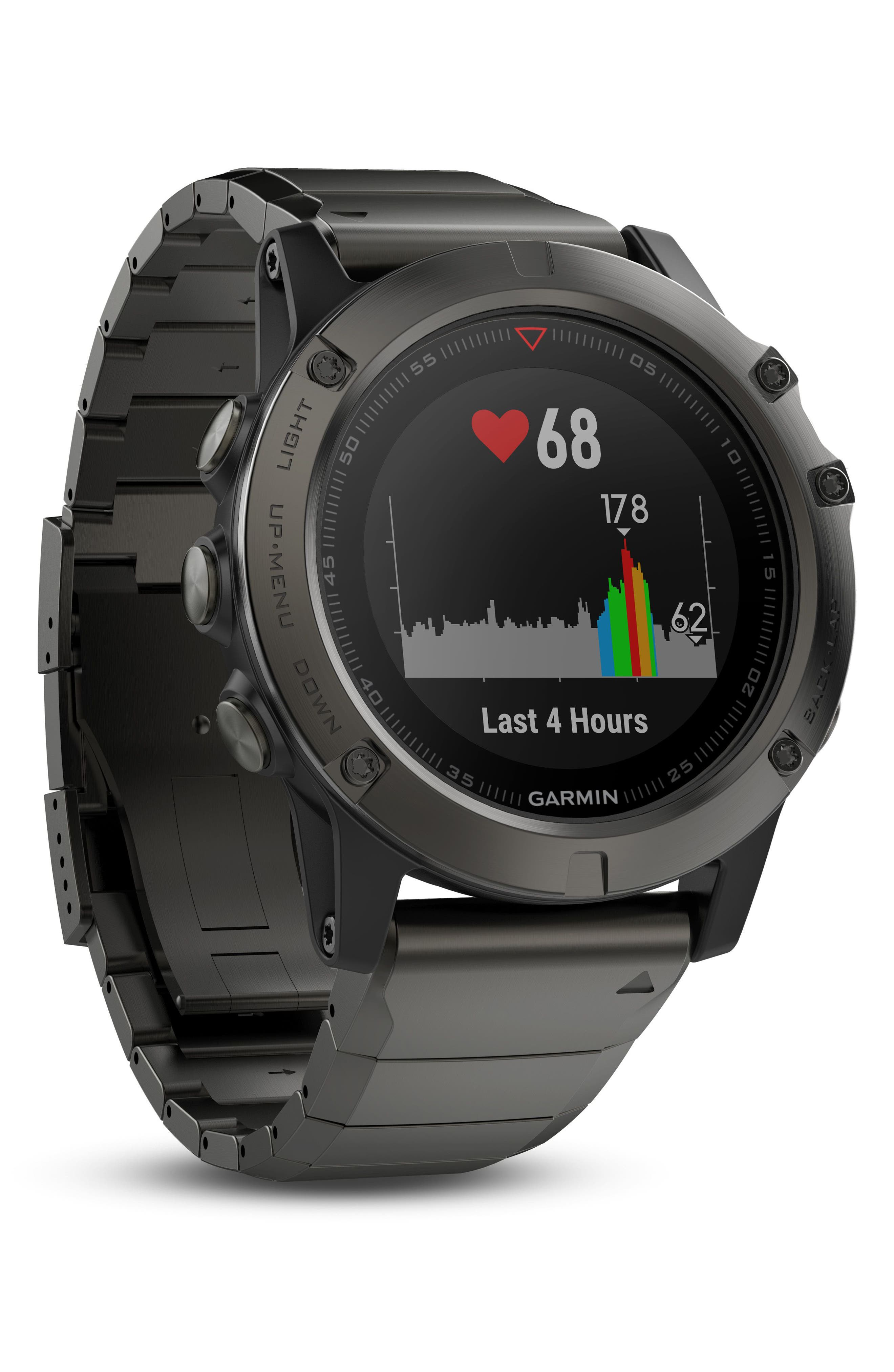 fenix<sup>®</sup> 5X Sapphire Premium Multisport GPS Watch, 51mm,                             Alternate thumbnail 4, color,                             GUNMETAL/ SLATE GRAY SAPPHIRE