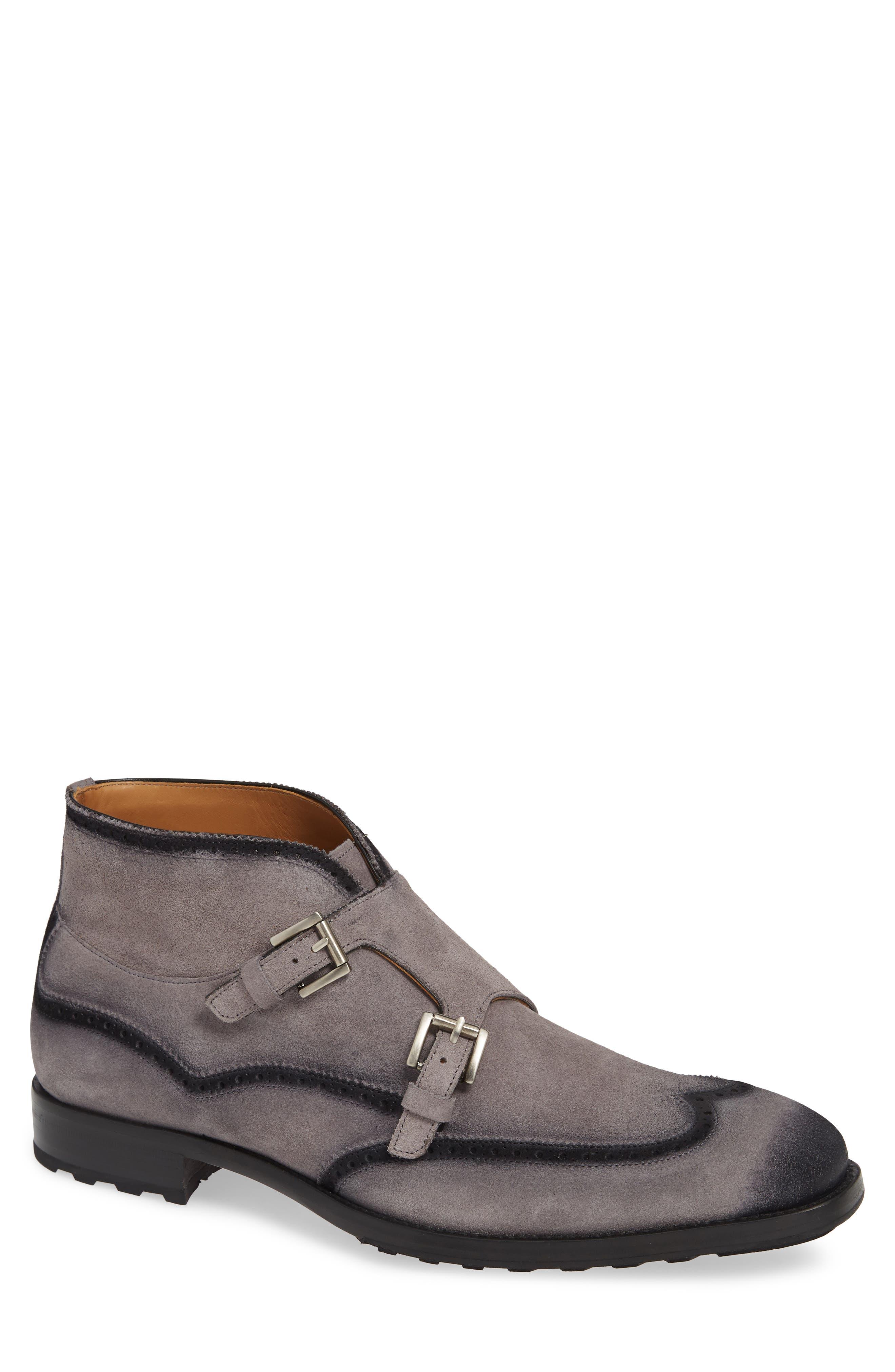 Munoz Double Monk Strap Boot,                         Main,                         color, GREY SUEDE