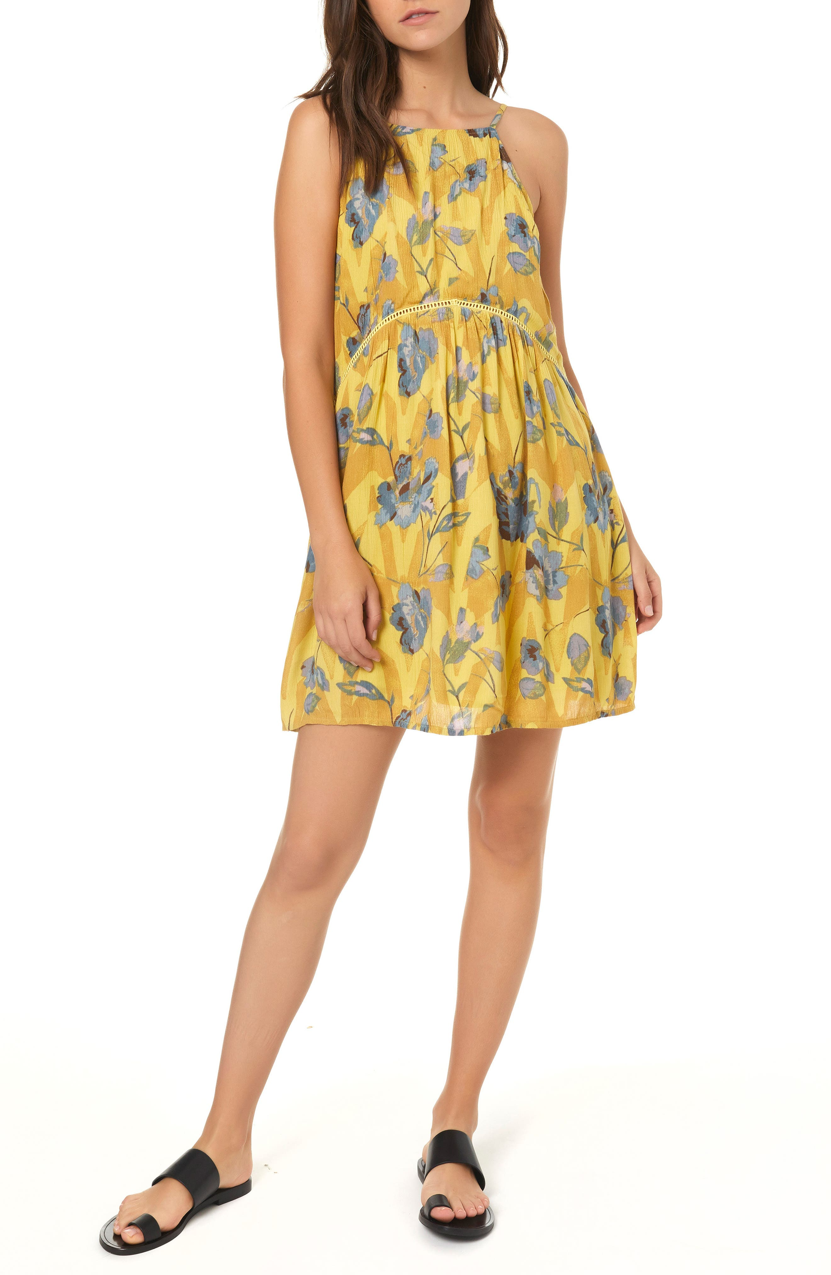 Henna Floral Print Woven Tank Dress,                         Main,                         color, MULTI COLORED