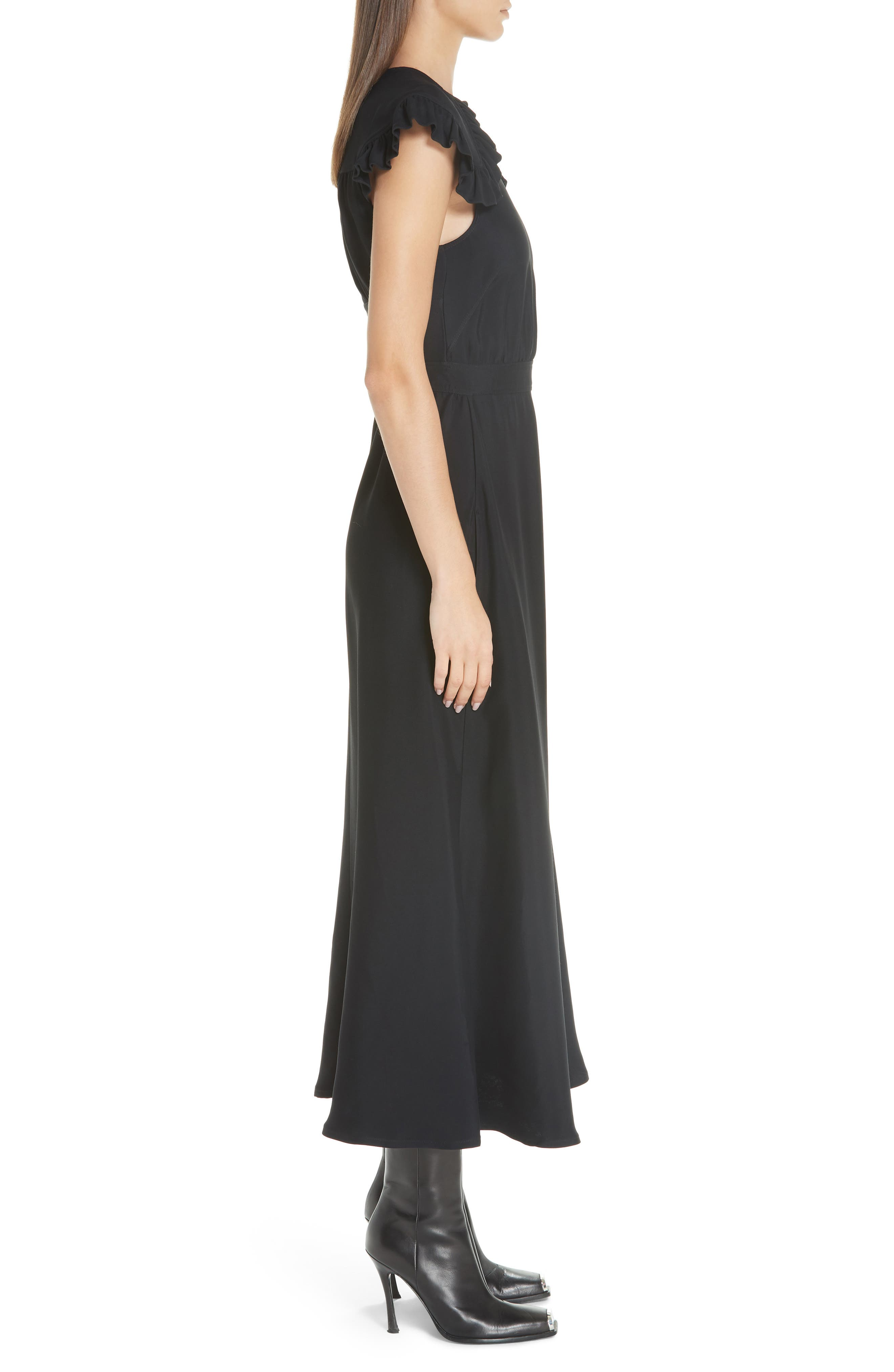 Cady Ruffle Pioneer Dress,                             Alternate thumbnail 3, color,                             BLACK
