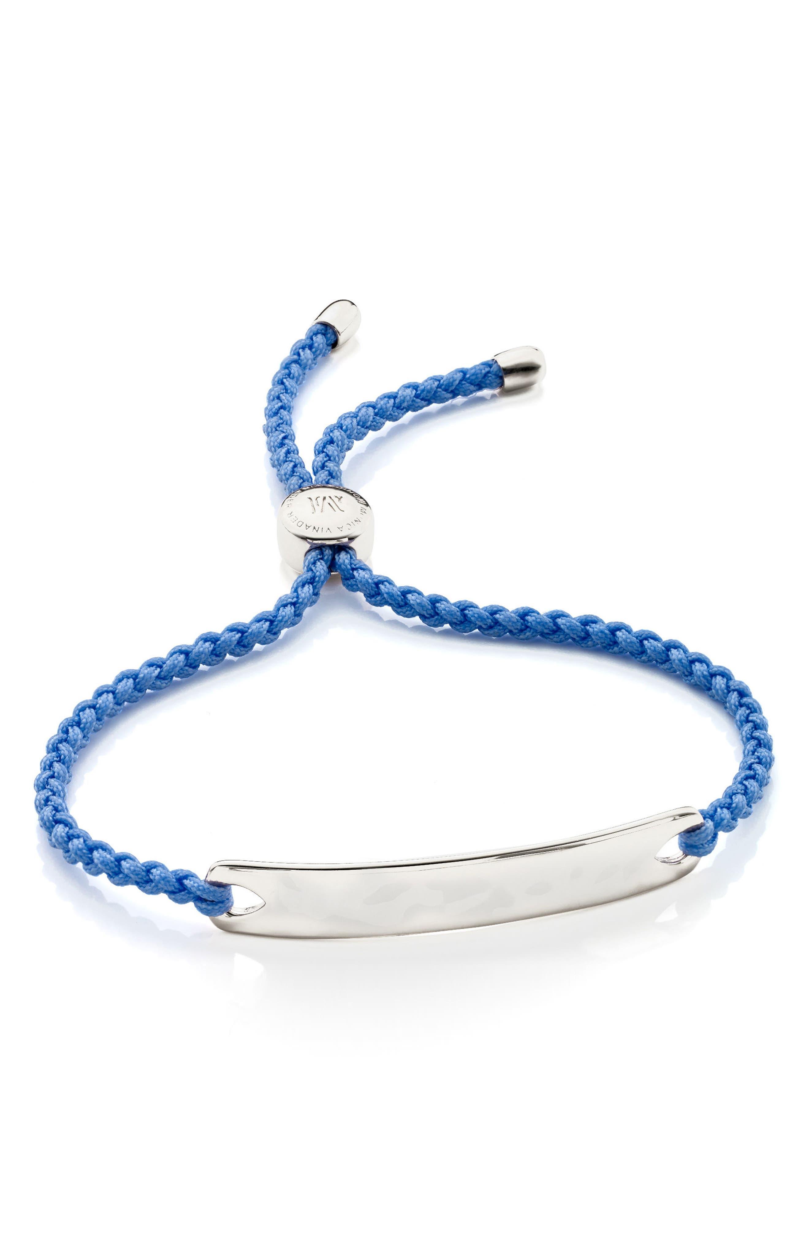 Engravable HavanaFriendship Bracelet,                         Main,                         color, SILVER/ POWDER BLUE