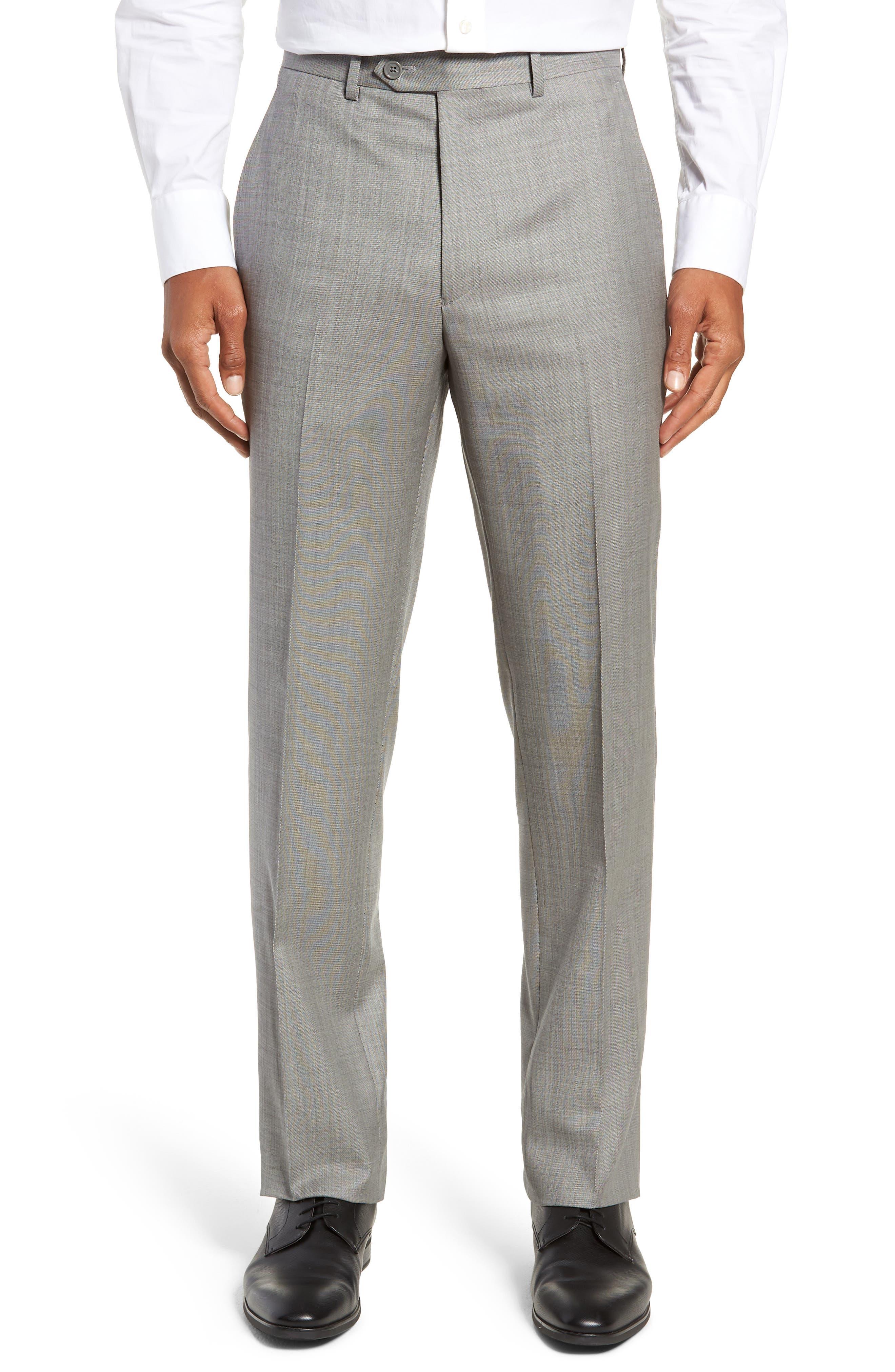 SANTORELLI Flat Front Sharkskin Wool Trousers in Light Grey