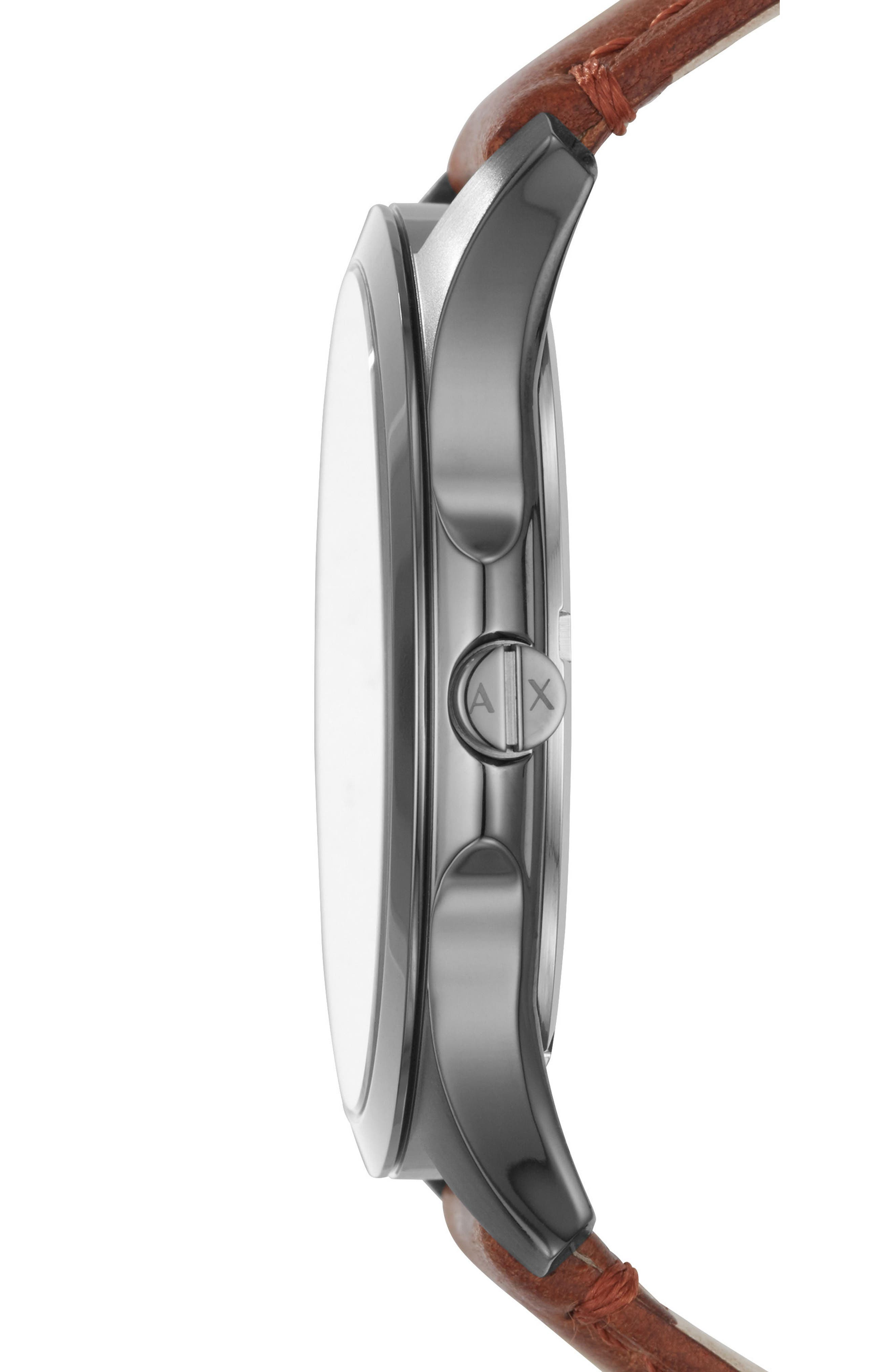 Diamond Accent Leather Strap Watch, 46mm,                             Alternate thumbnail 2, color,                             201