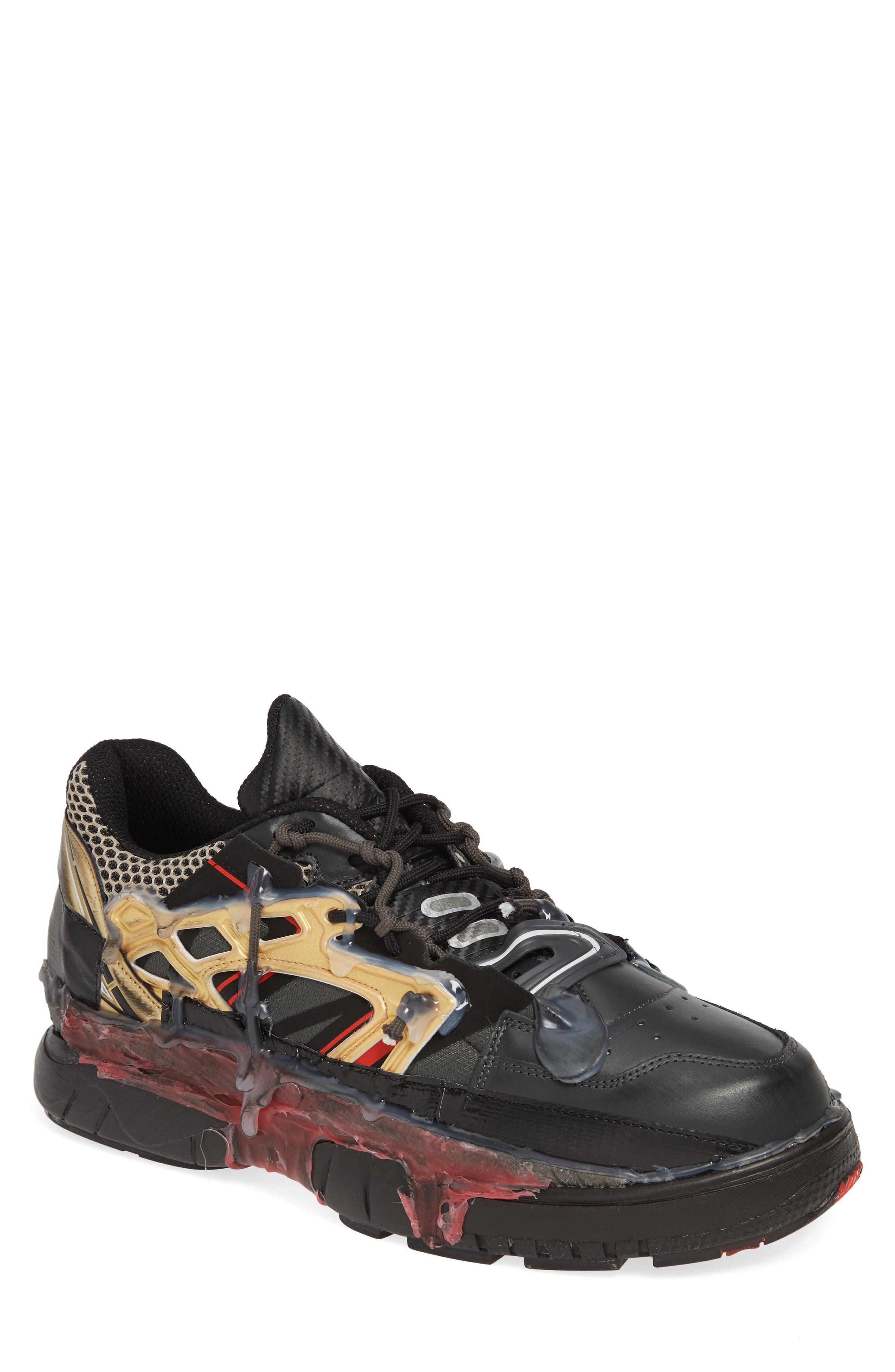 MM6 MAISON MARGIELA,                             Maison Margiela Fusion Sneaker,                             Main thumbnail 1, color,                             BLACK/ GOLD/ RED