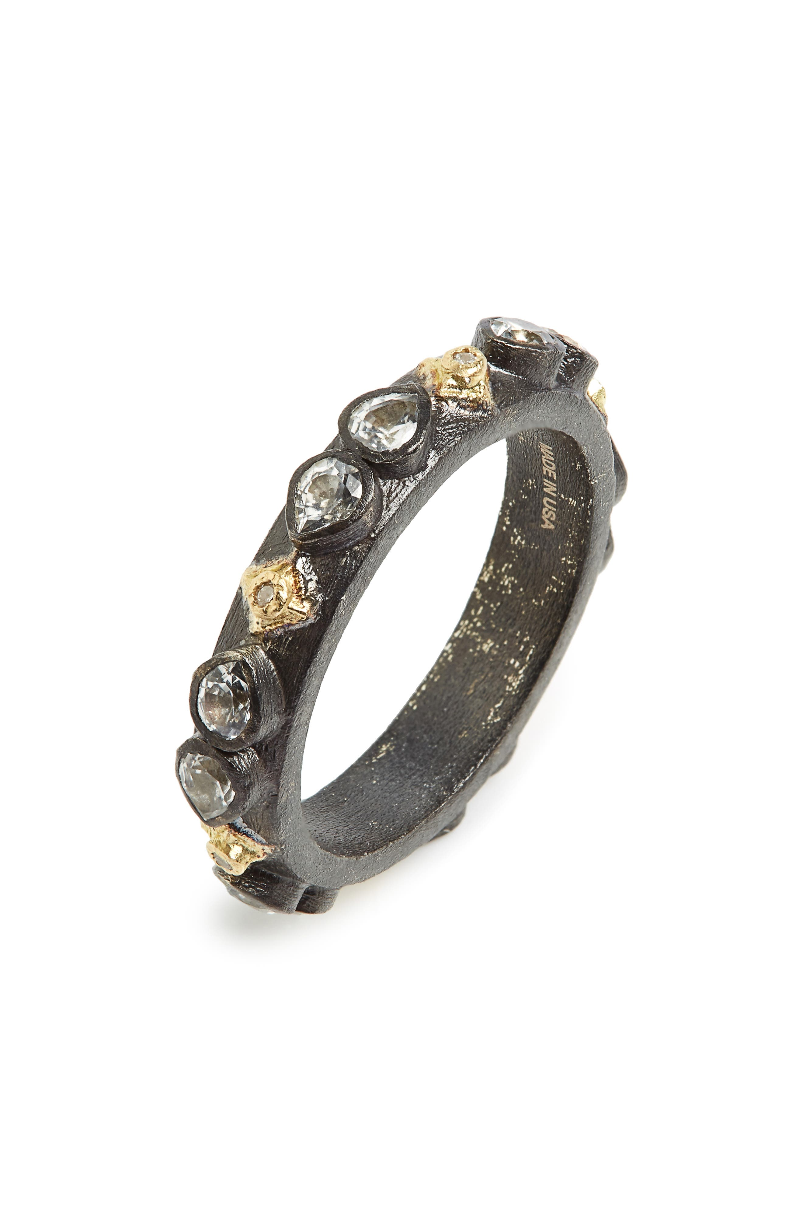 Old World Sapphire Blackened Stack Ring,                             Main thumbnail 1, color,                             SILVER