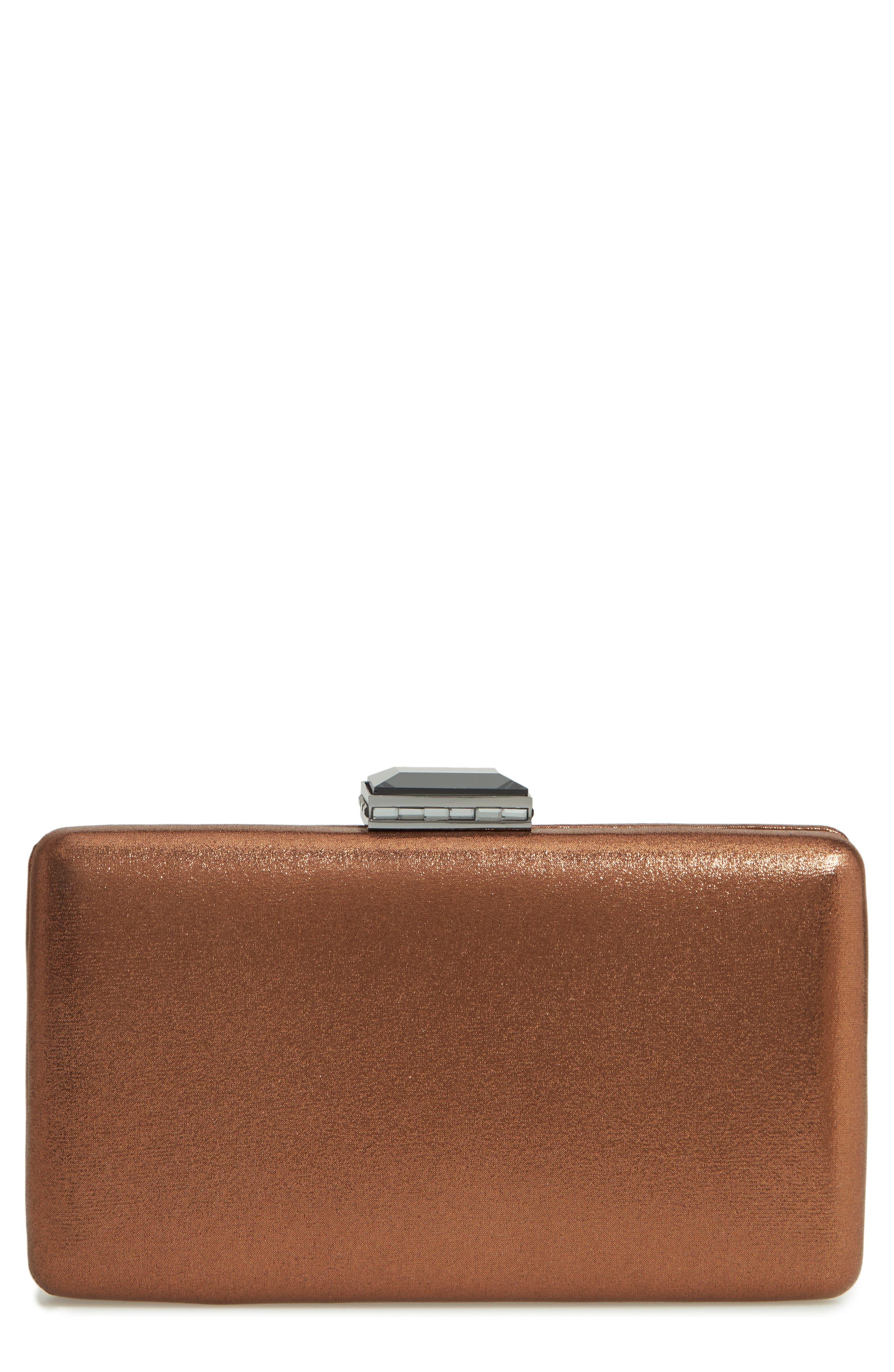 Metallic Box Clutch,                         Main,                         color, BRONZE