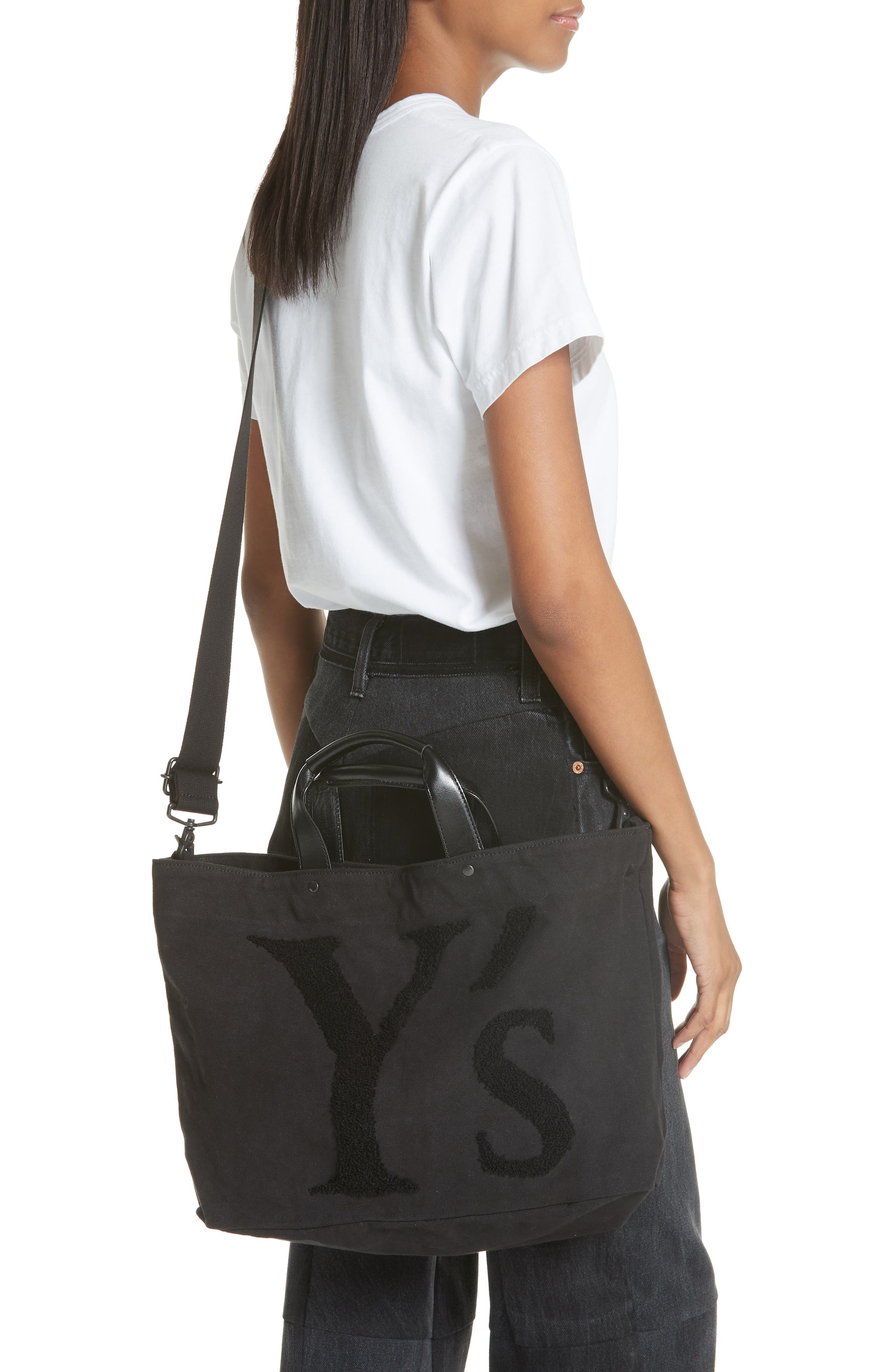 Embroidered Canvas Tote Bag,                             Alternate thumbnail 2, color,                             001