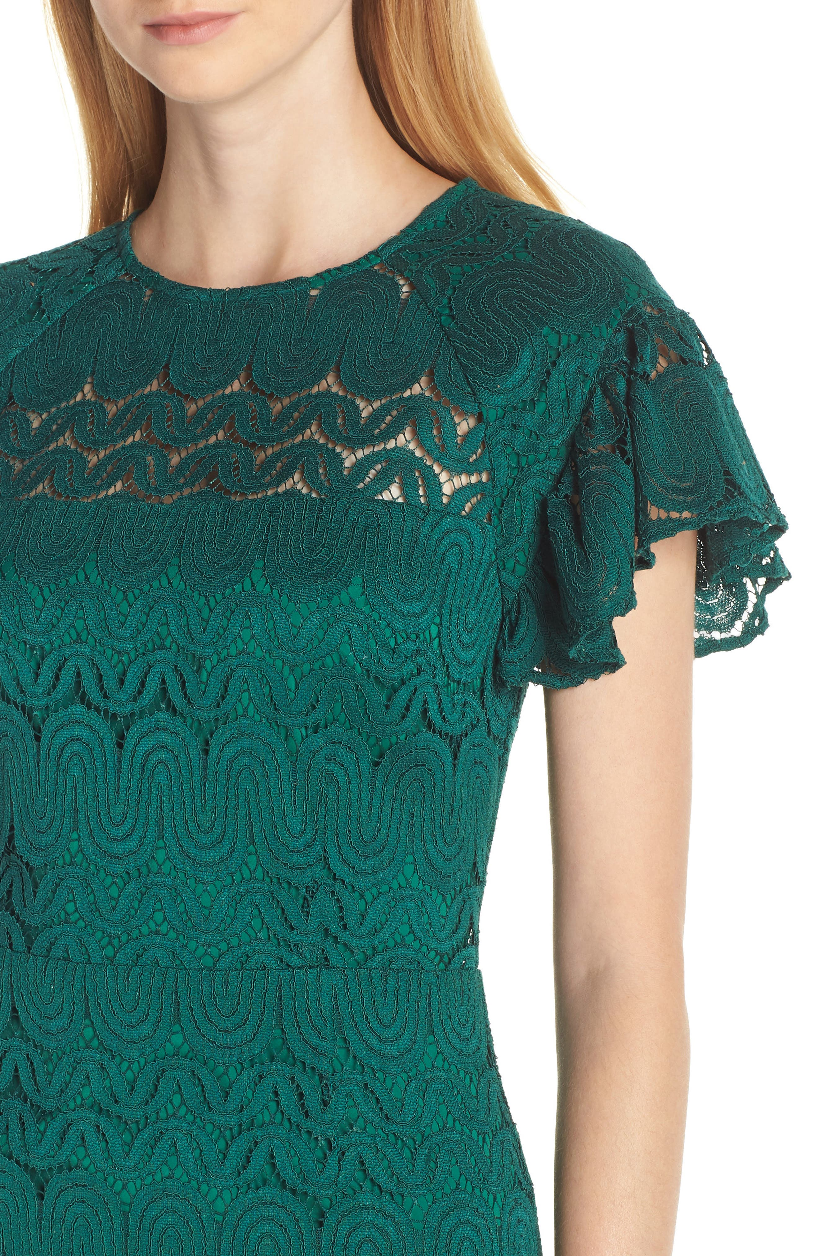 Mai Tai Lace Dress,                             Alternate thumbnail 4, color,                             EMERALD