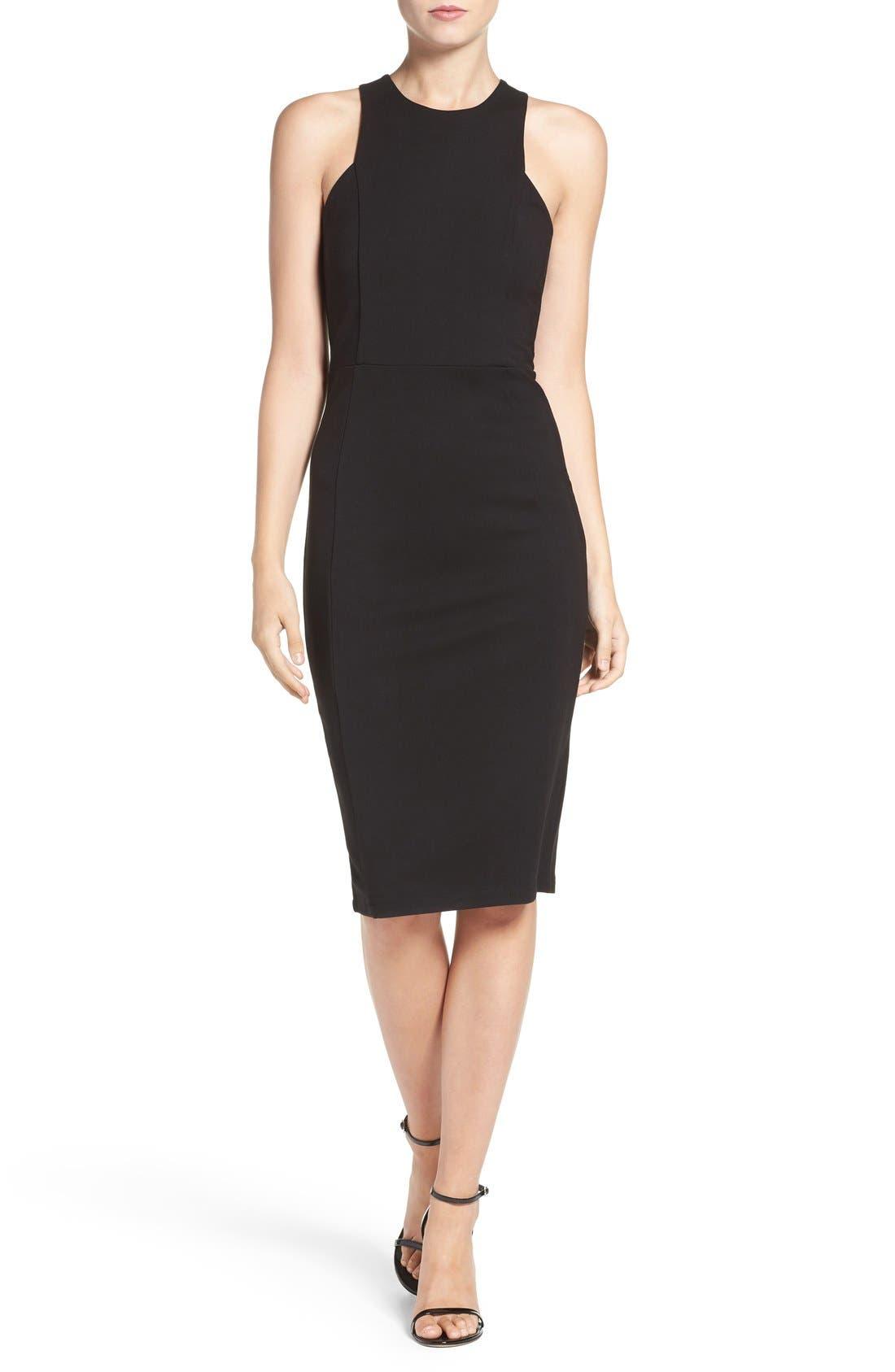 Stretch Sheath Dress,                             Main thumbnail 1, color,                             BLACK