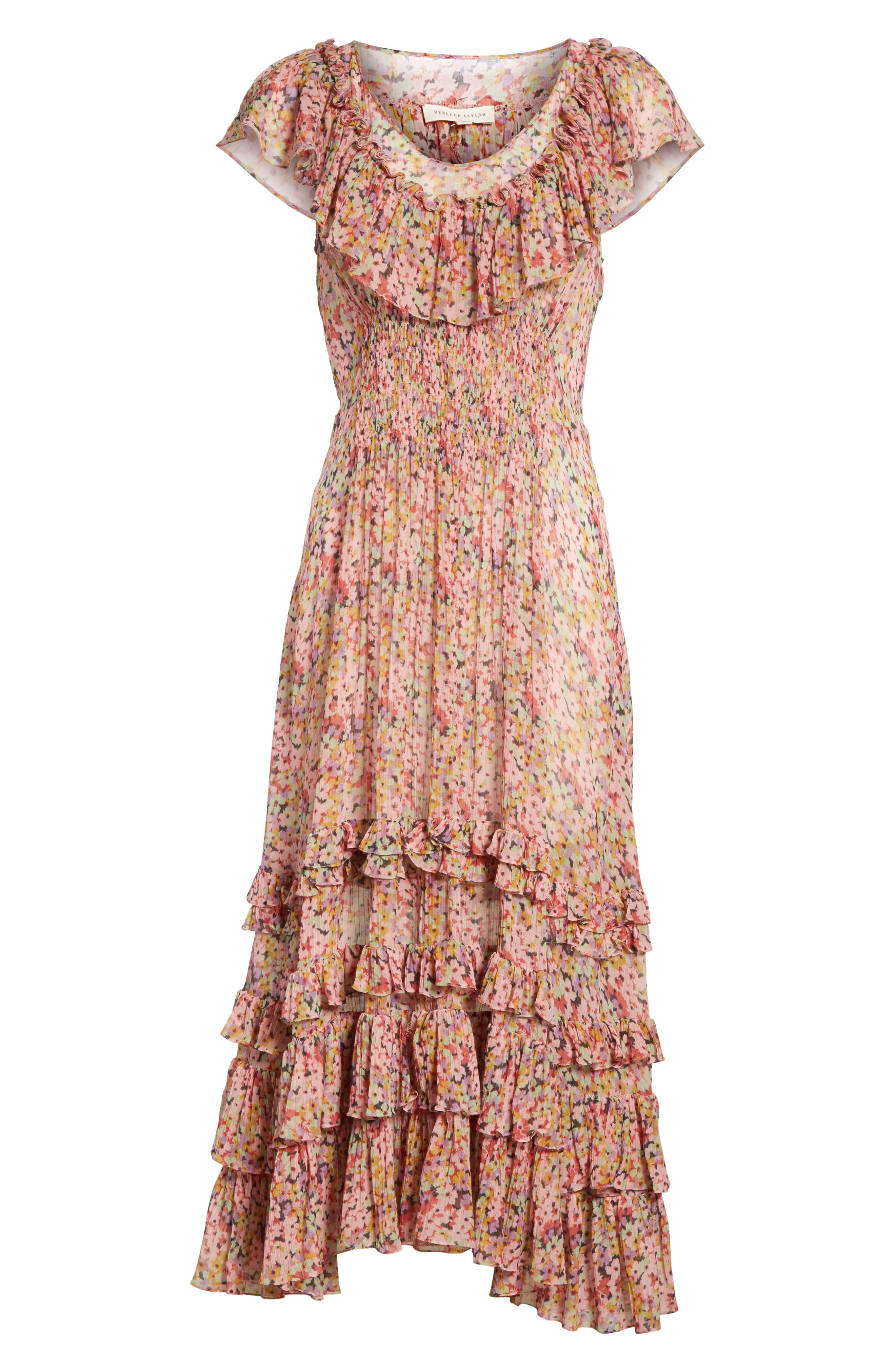 Margo Floral Ruffled Midi Dress,                             Alternate thumbnail 6, color,                             686