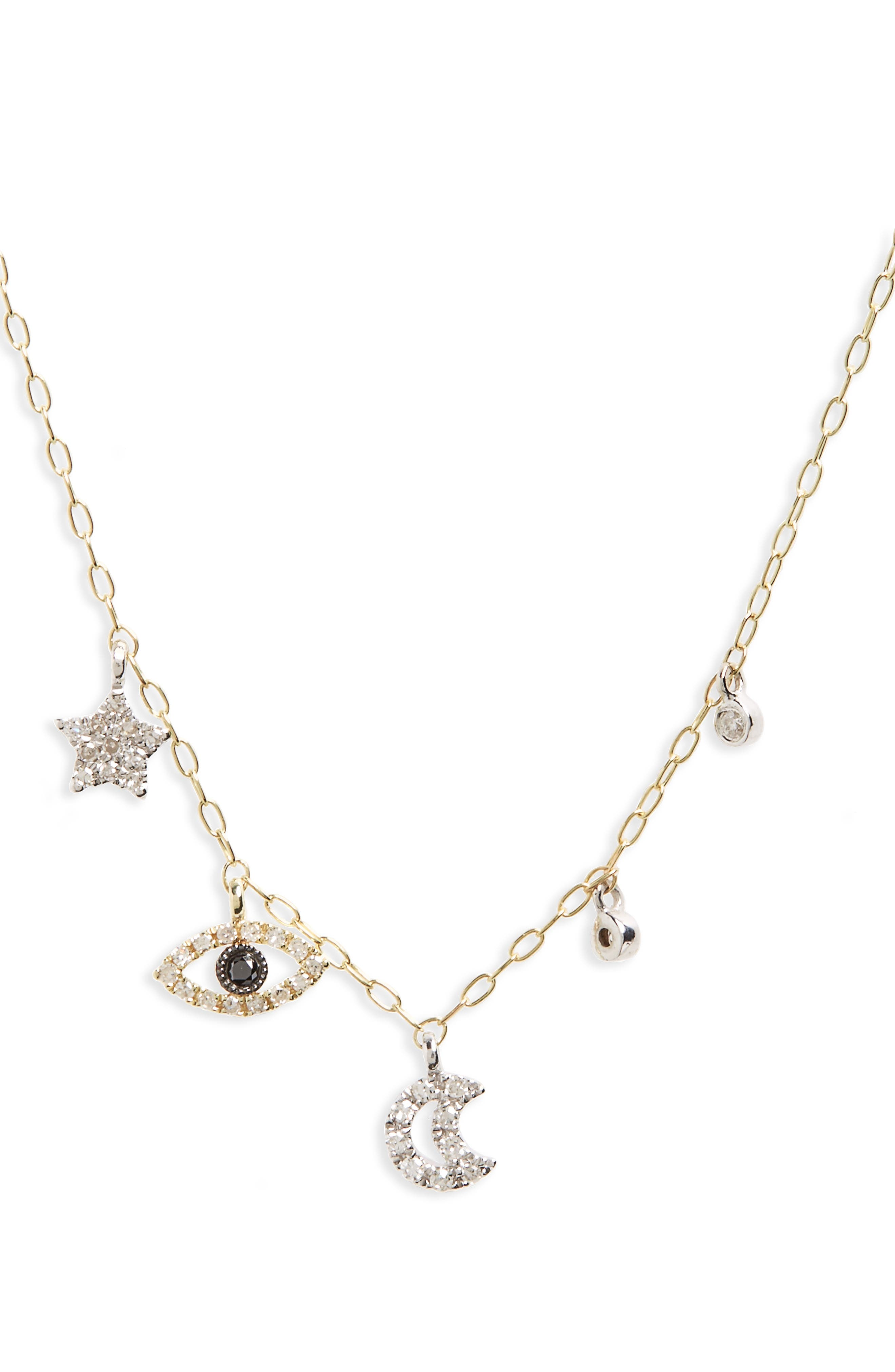 Diamond Charm Necklace,                         Main,                         color, YELLOW GOLD