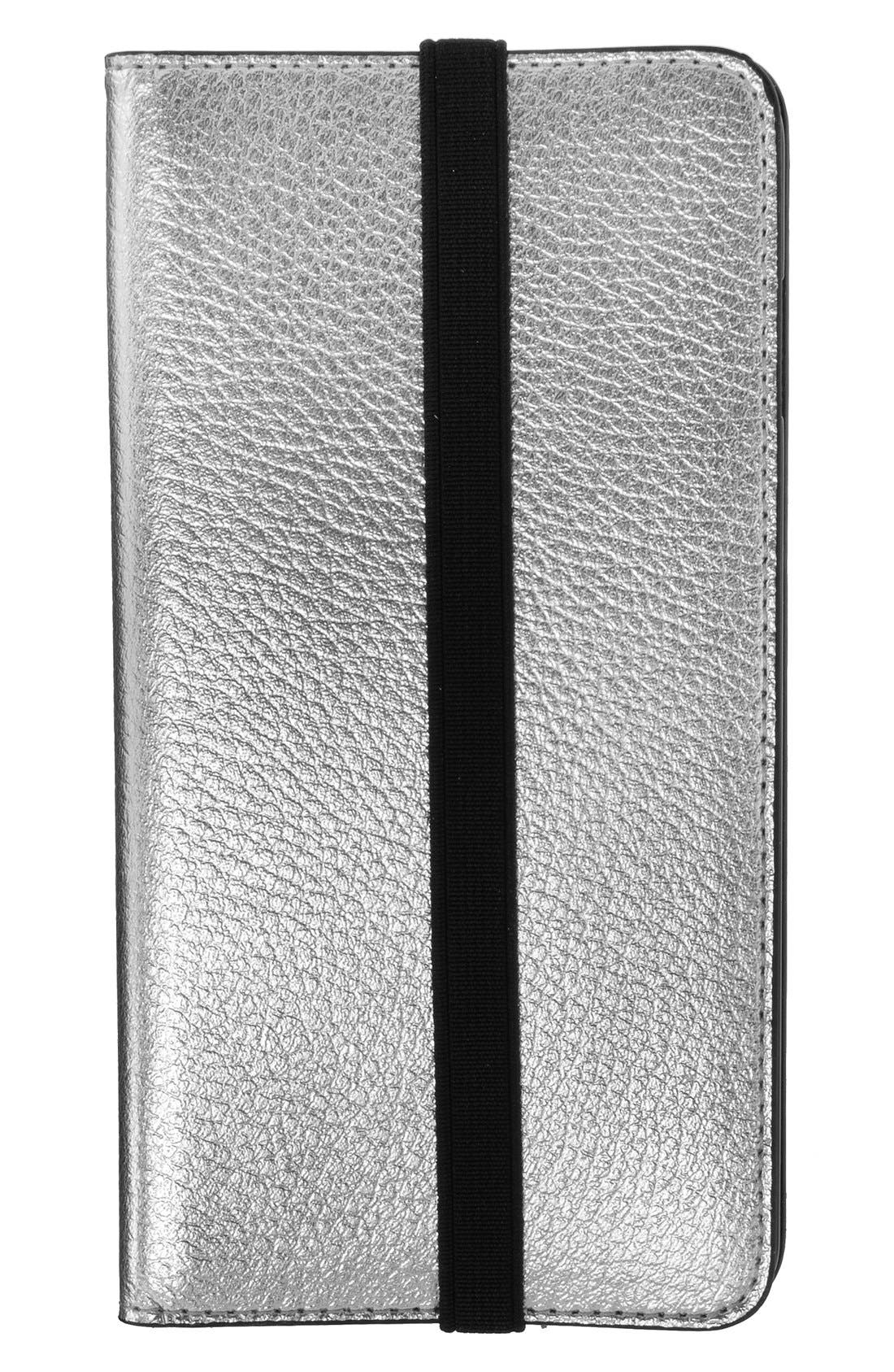 iPhone 6 Plus/6s Plus Metallic Leather Wallet Case,                             Main thumbnail 1, color,                             040