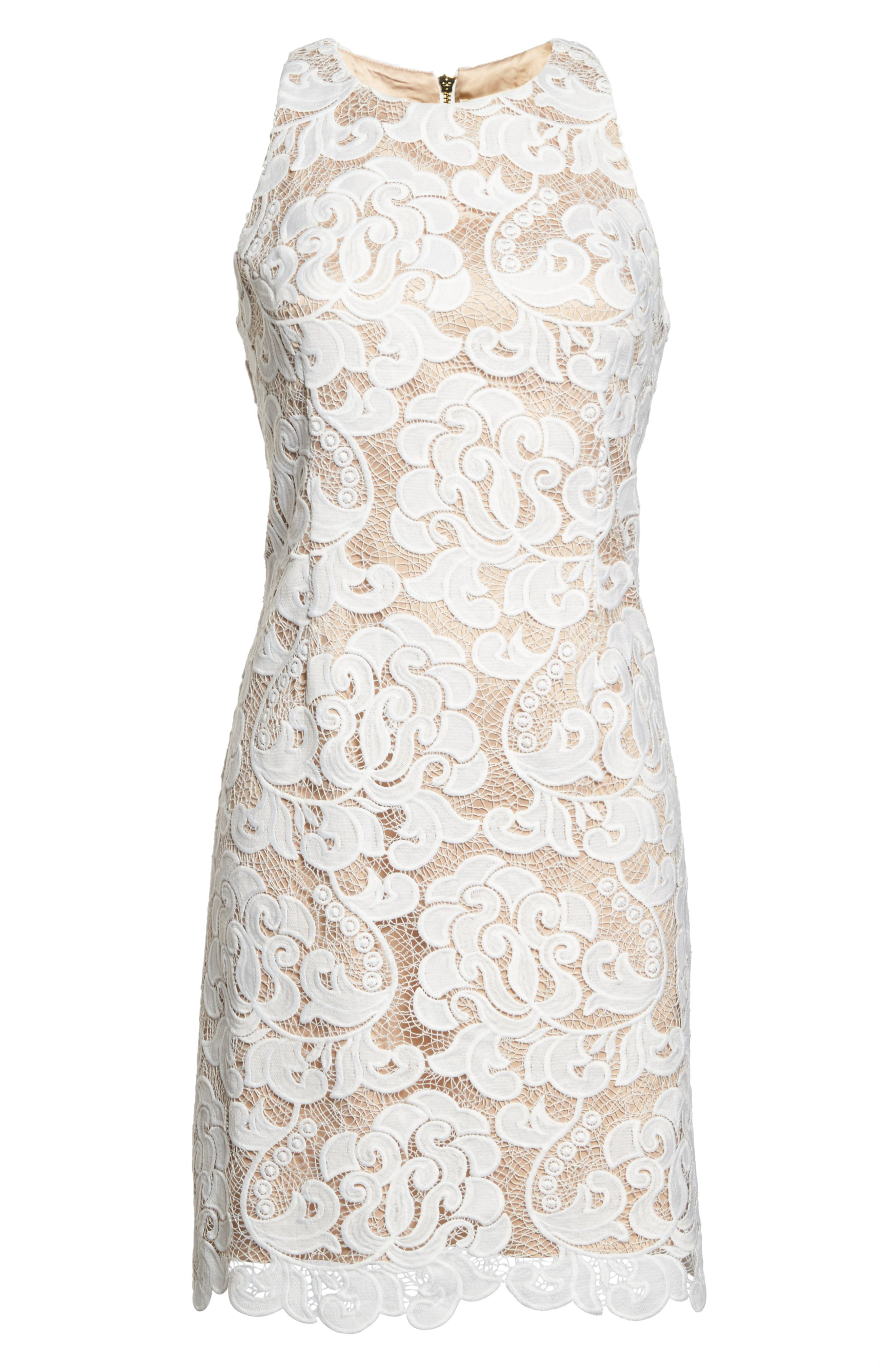 Lace Sheath Dress,                             Alternate thumbnail 8, color,                             IVORY