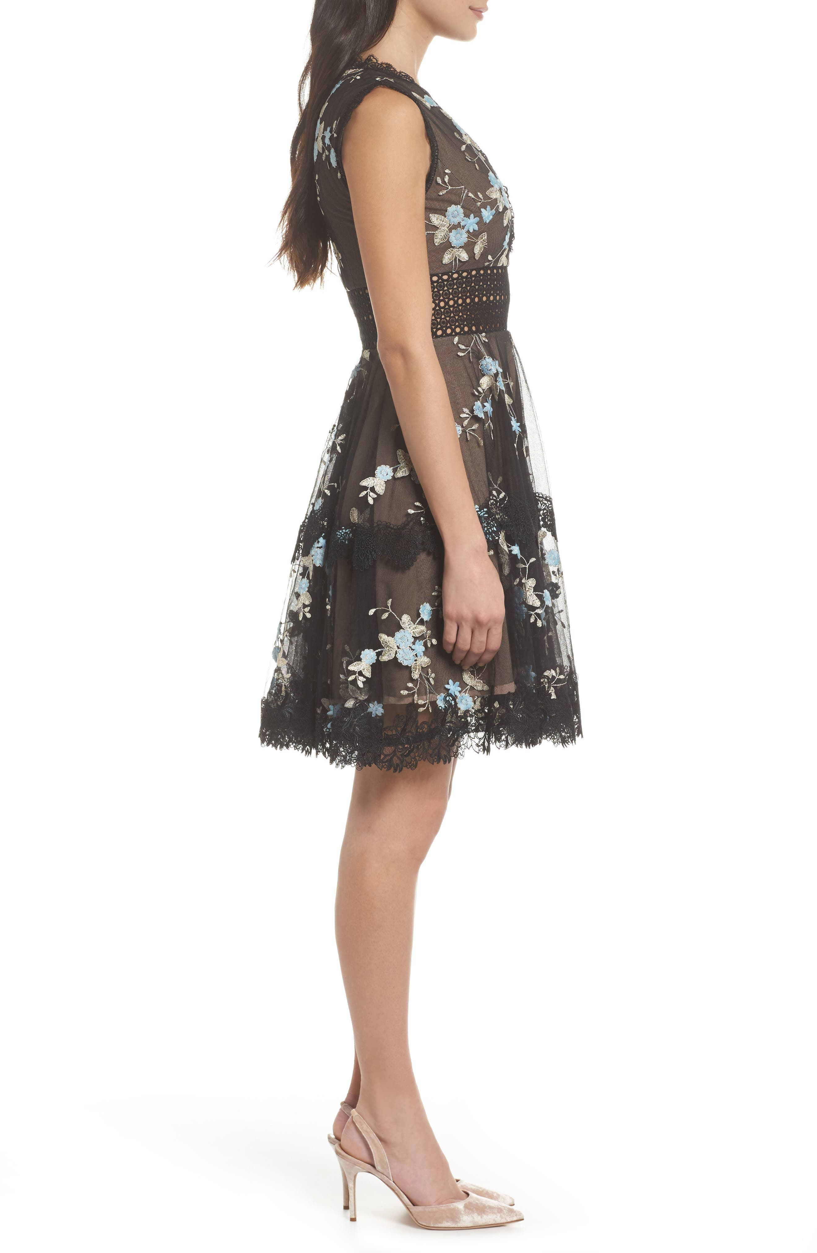 Marietta Embroidered Fit & Flare Dress,                             Alternate thumbnail 3, color,                             001