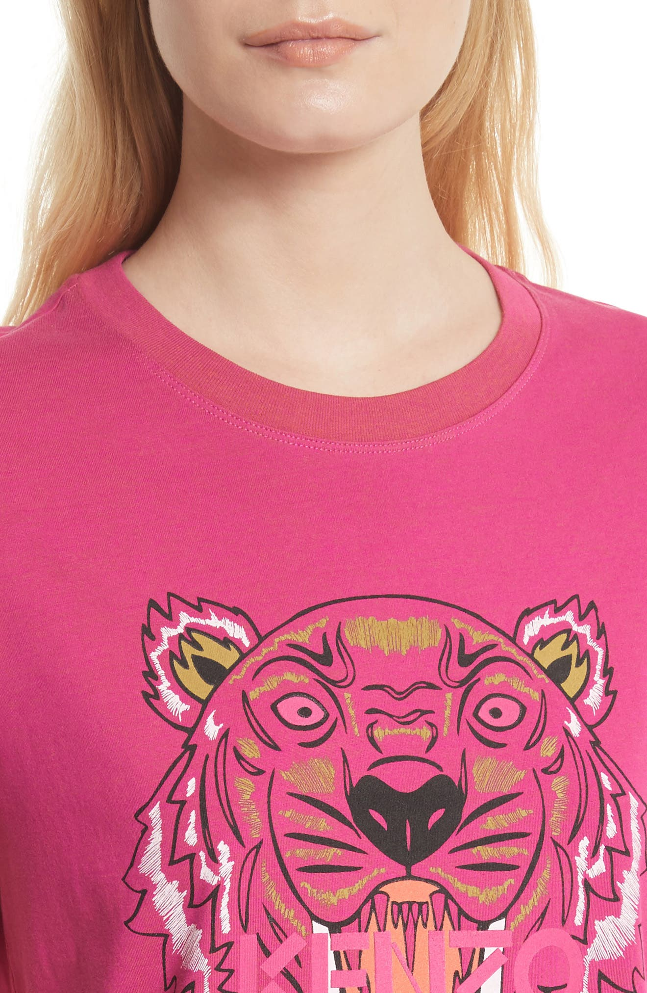 Tiger Print Cotton Tee,                             Alternate thumbnail 4, color,                             651