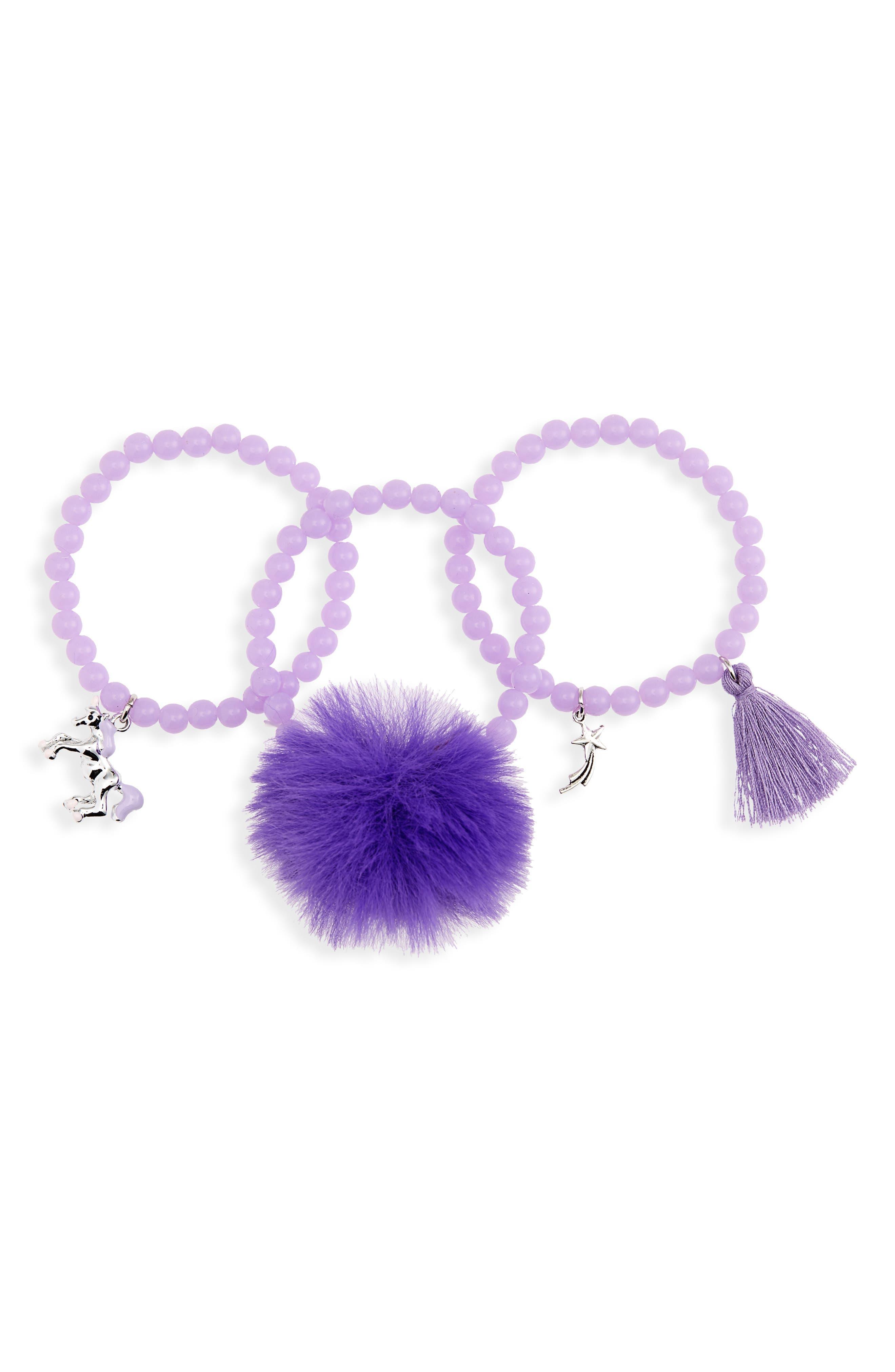 3-Pack Beaded Charm Bracelets, Main, color, PURPLE
