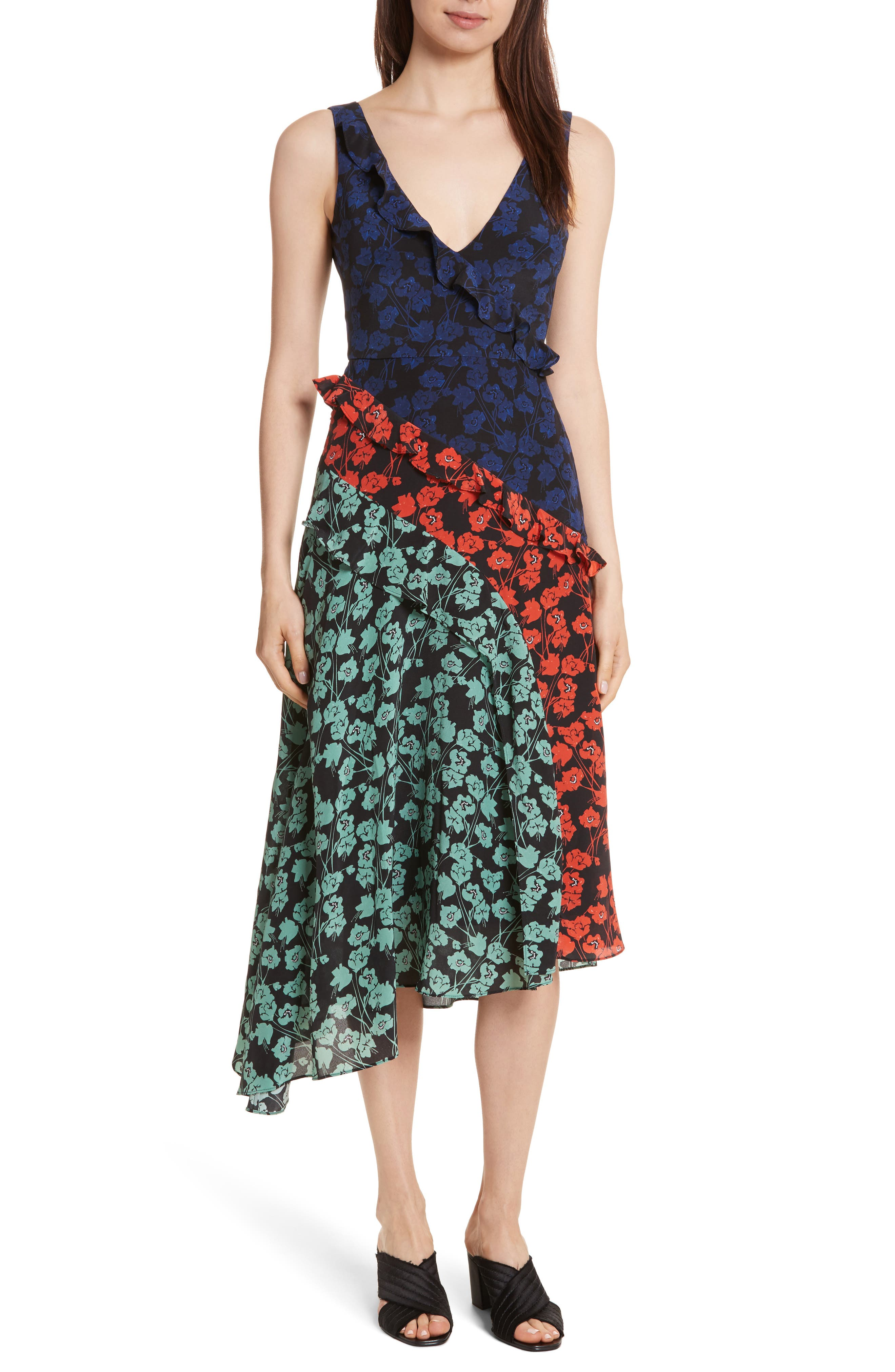 Aggie Floral Print Silk Dress,                             Main thumbnail 1, color,                             465