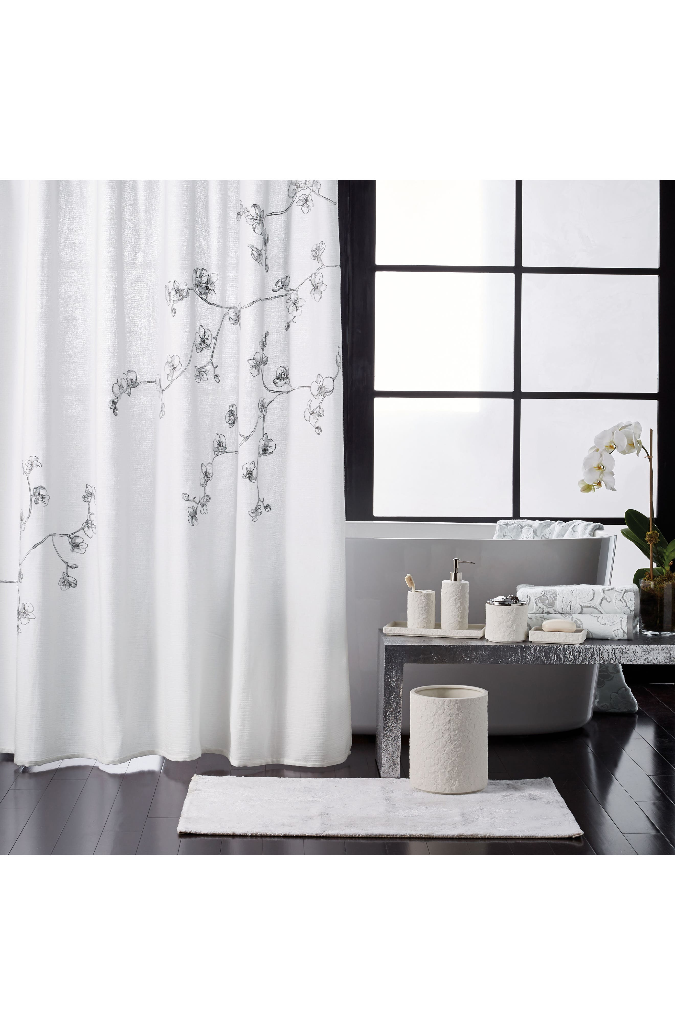 Orchid Shower Curtain,                         Main,                         color, GREY