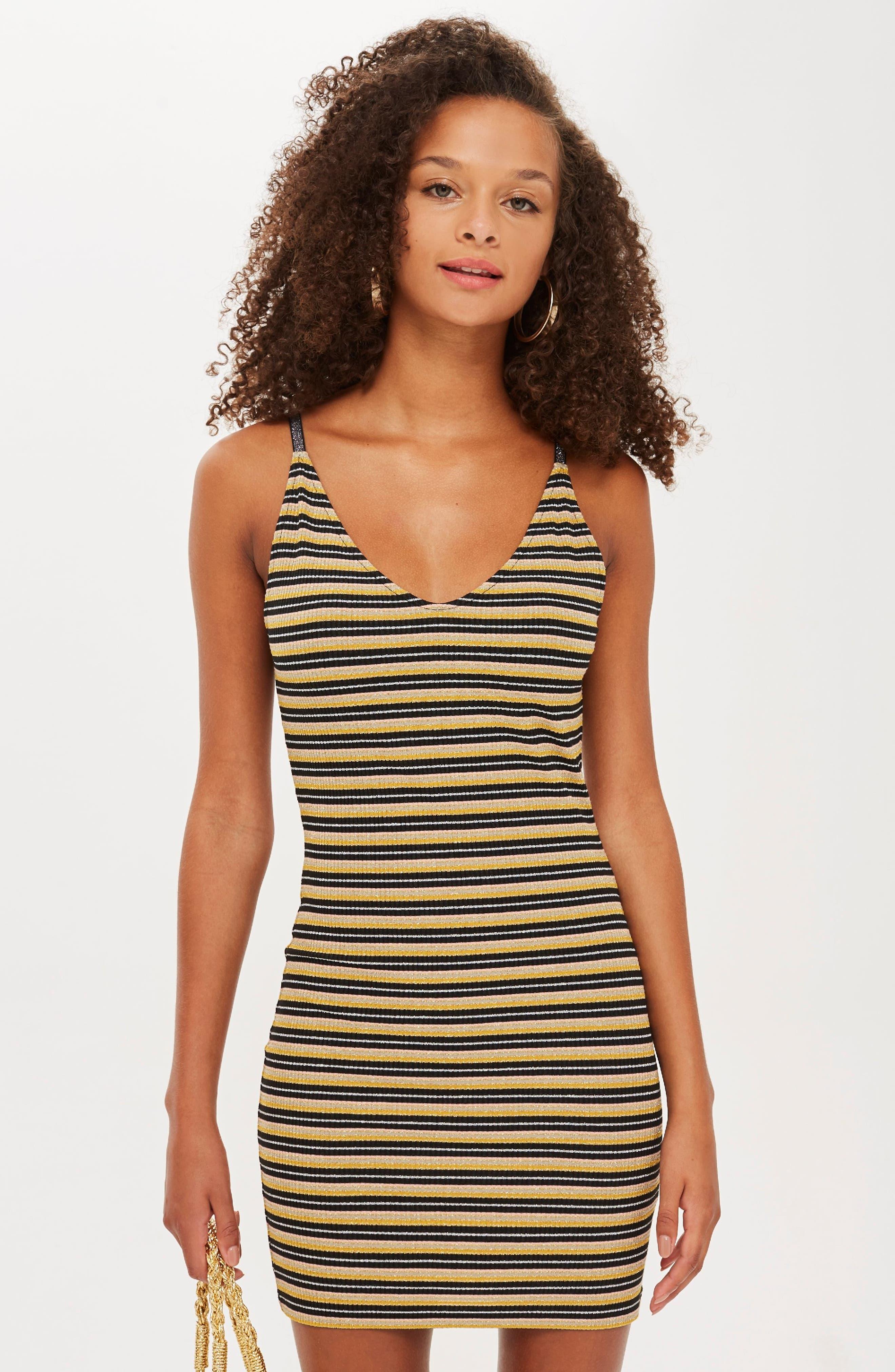 Metallic Stripe Body-Con Dress,                             Alternate thumbnail 7, color,                             BLACK MULTI