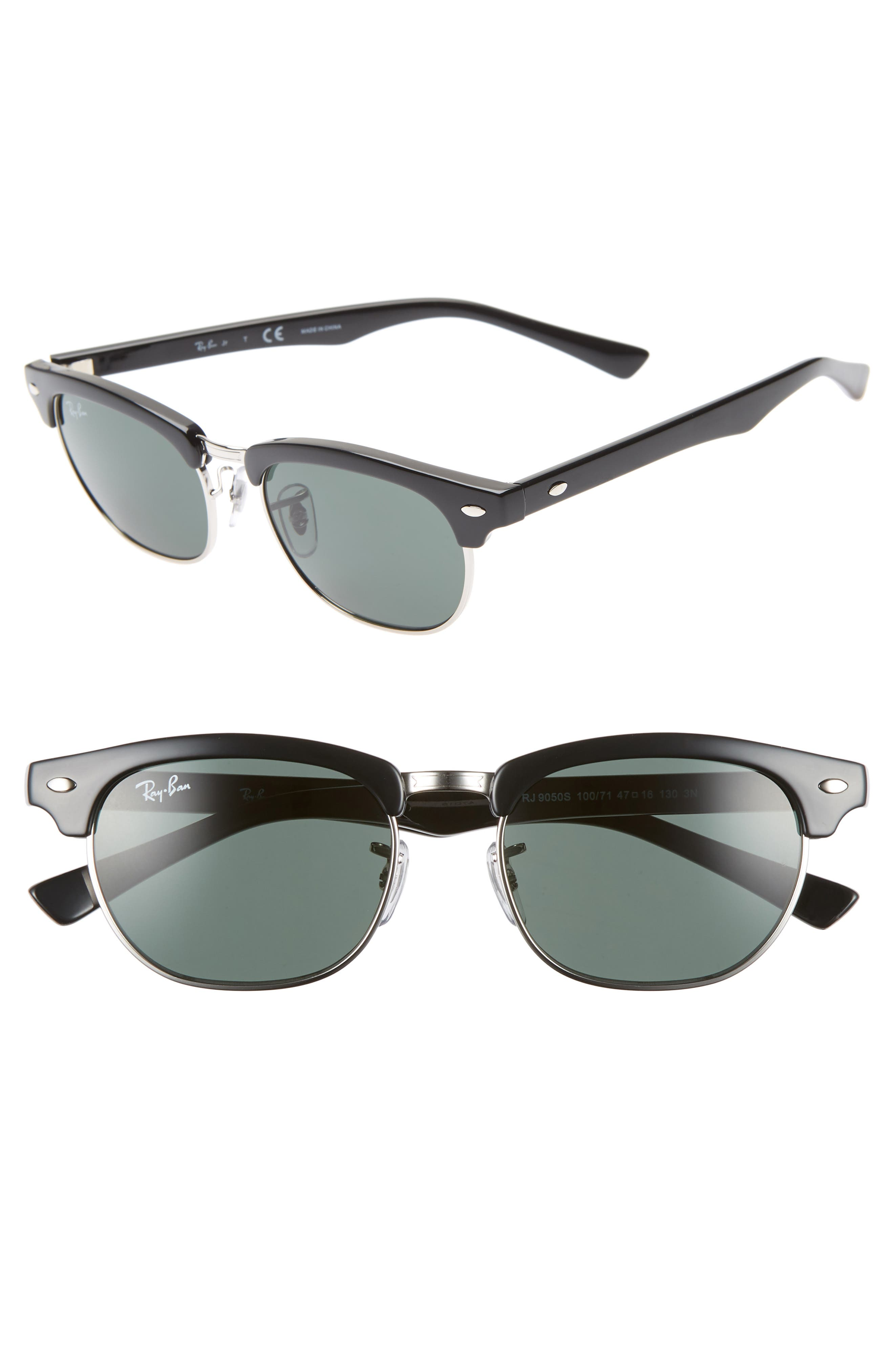 Ray-Ban Junior Clubmaster 47Mm Sunglasses - Black/ Green Solid