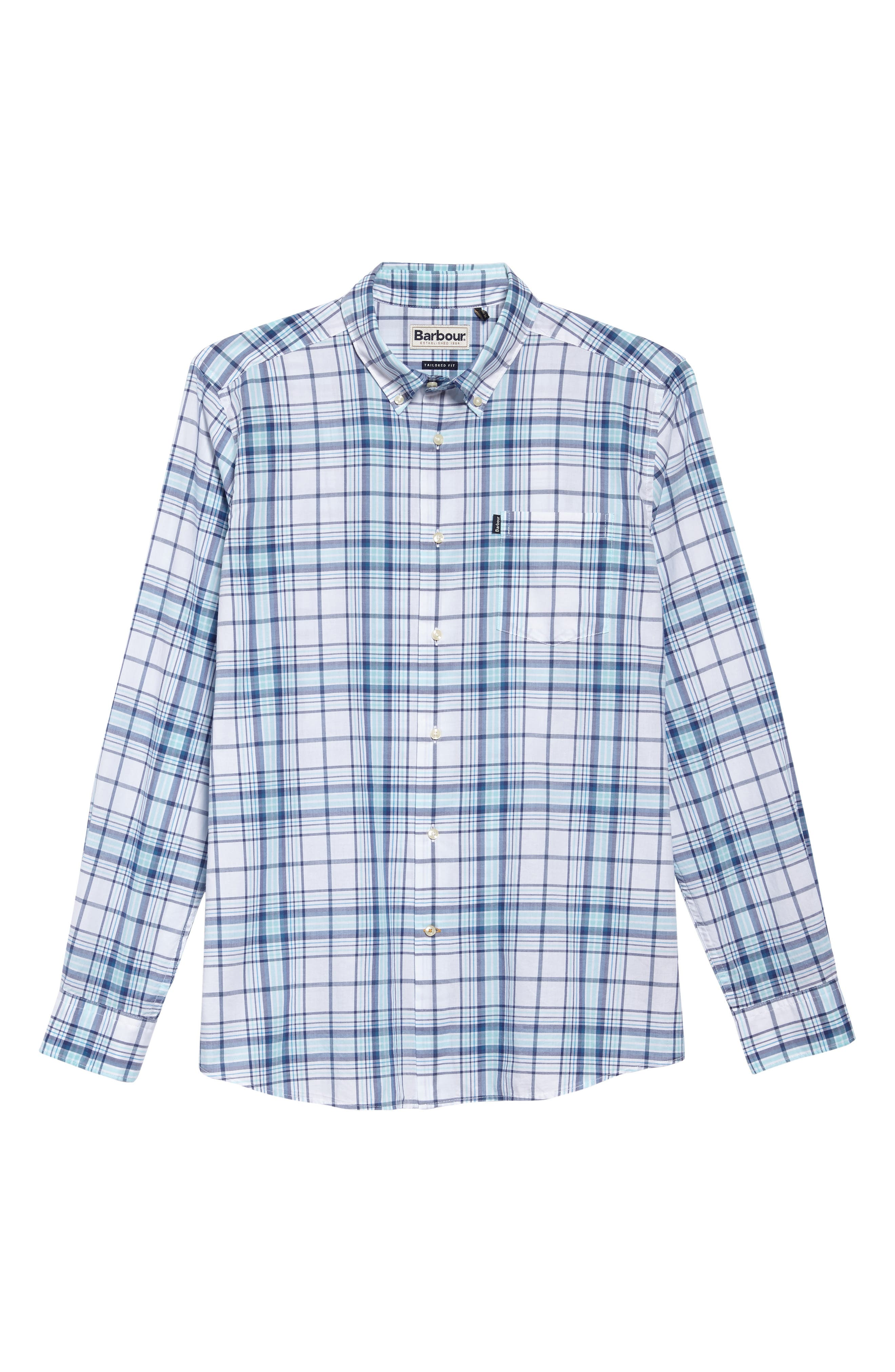Christopher Tailored Fit Plaid Sport Shirt,                             Alternate thumbnail 5, color,                             440