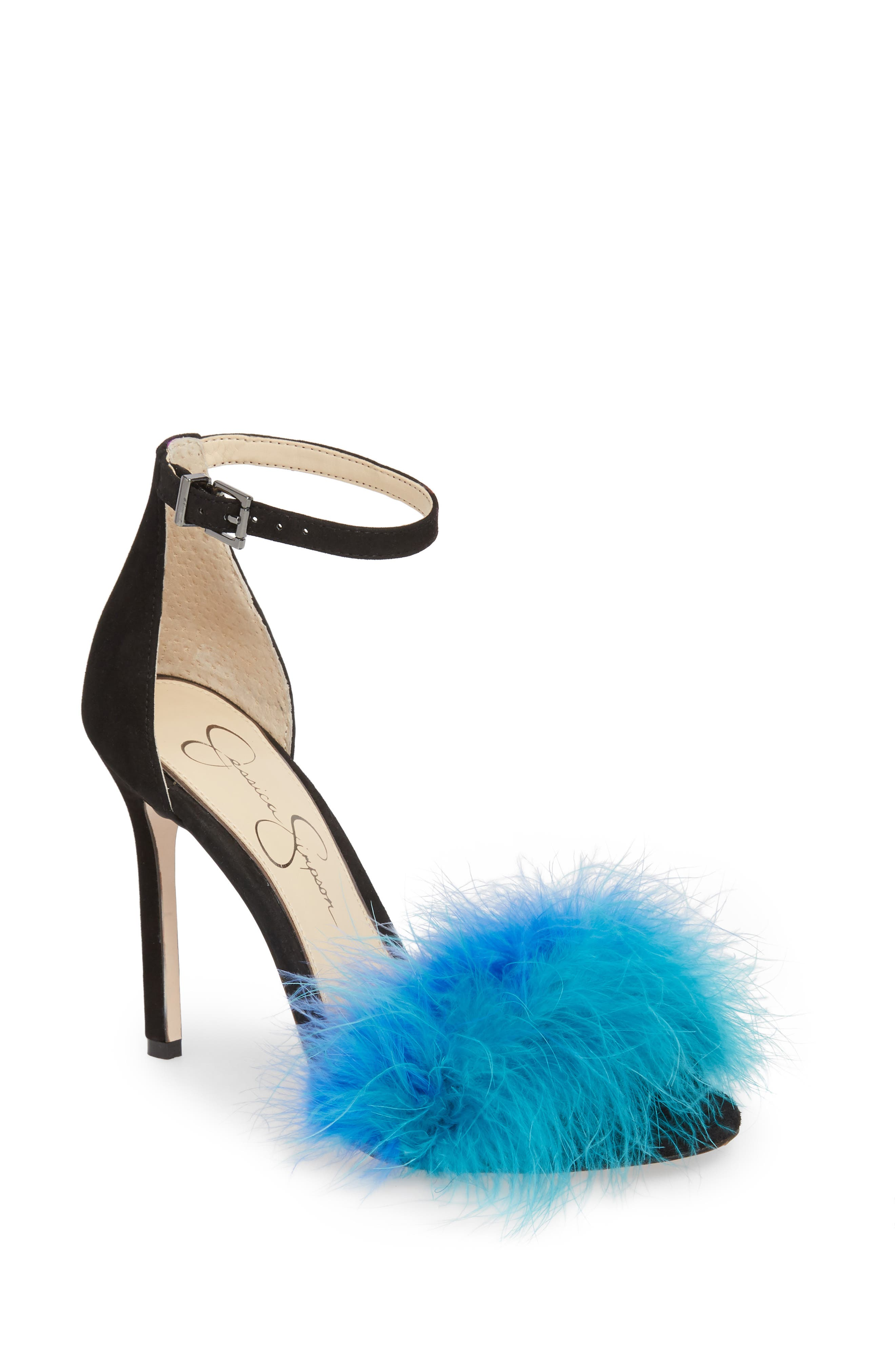 Jesaphine Feathered Sandal,                             Main thumbnail 1, color,                             460