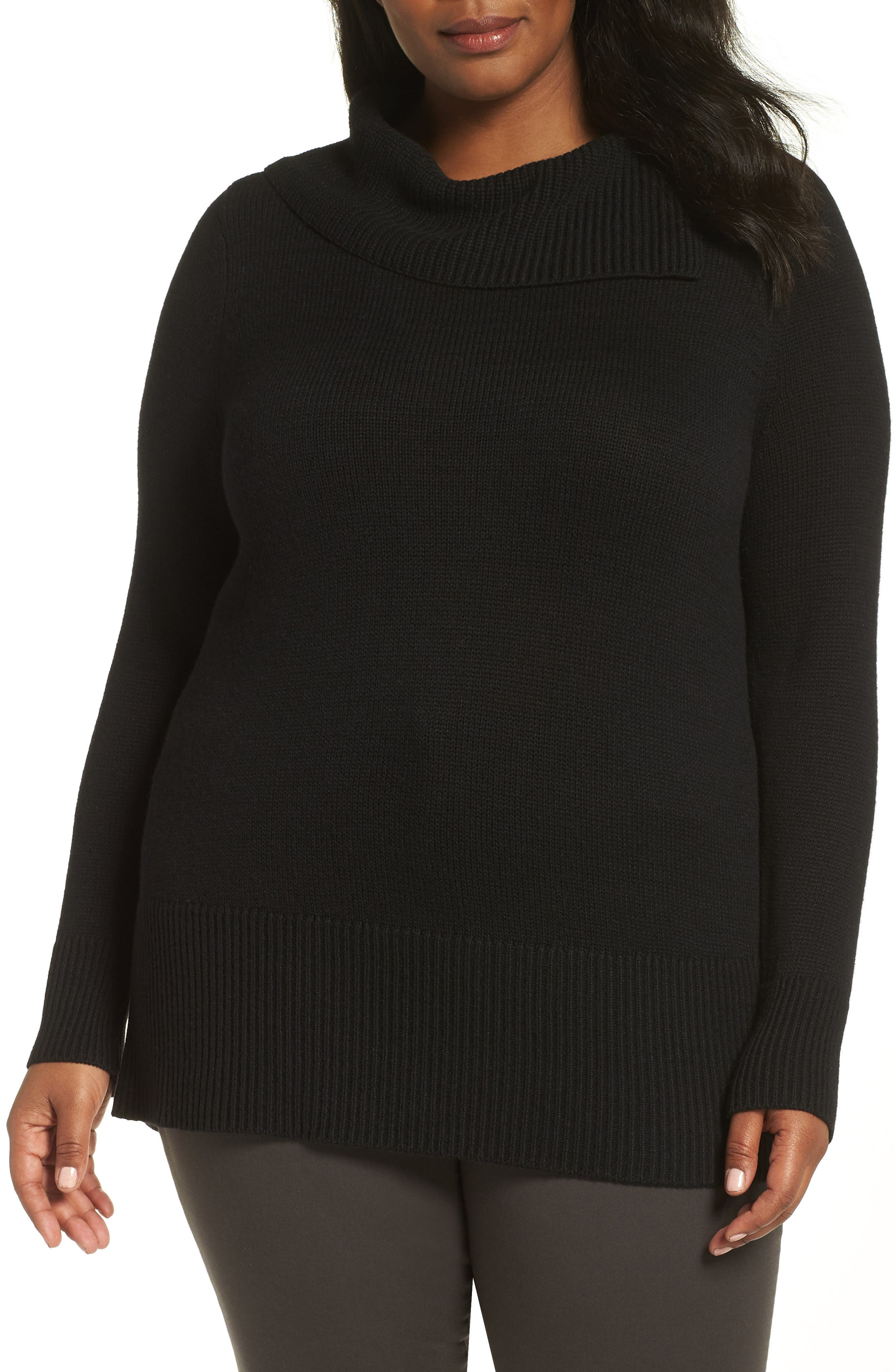 Split Neck Sweater,                         Main,                         color, BLACK