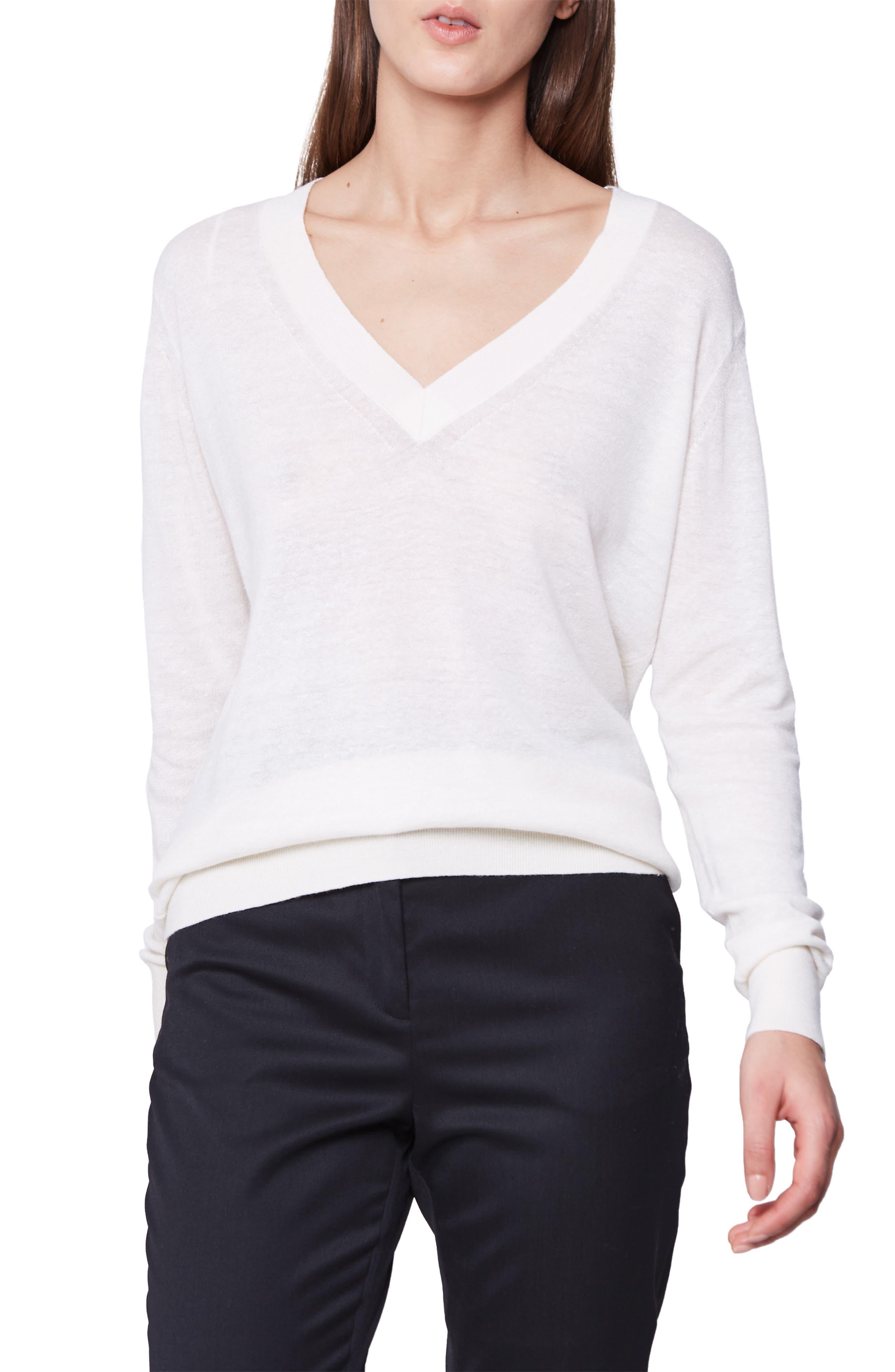 Reiss Wool & Linen V-Neck Sweater, Ivory