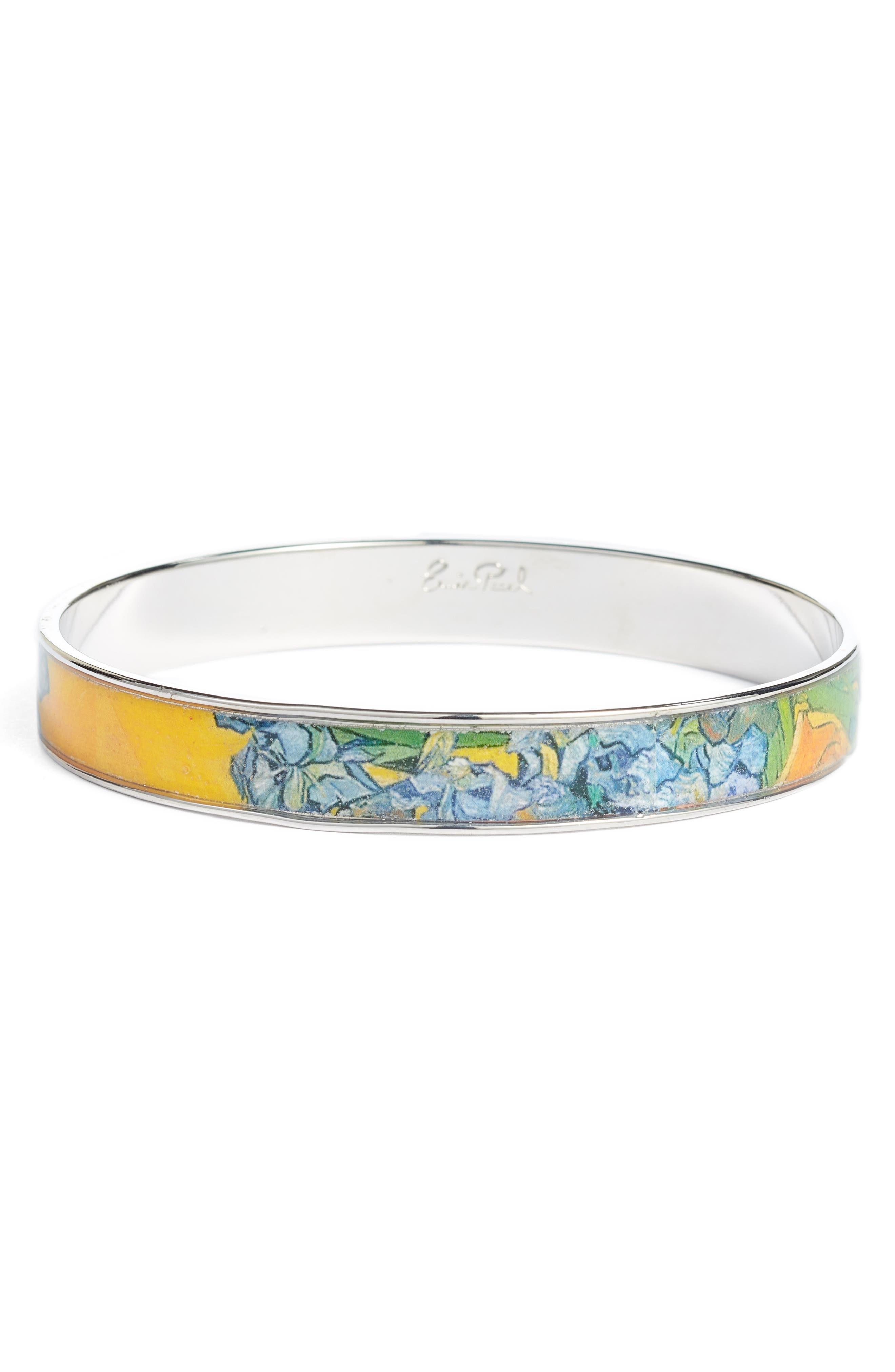 Irises Medium Bangle Bracelet,                             Main thumbnail 1, color,                             YELLOW/ SILVER
