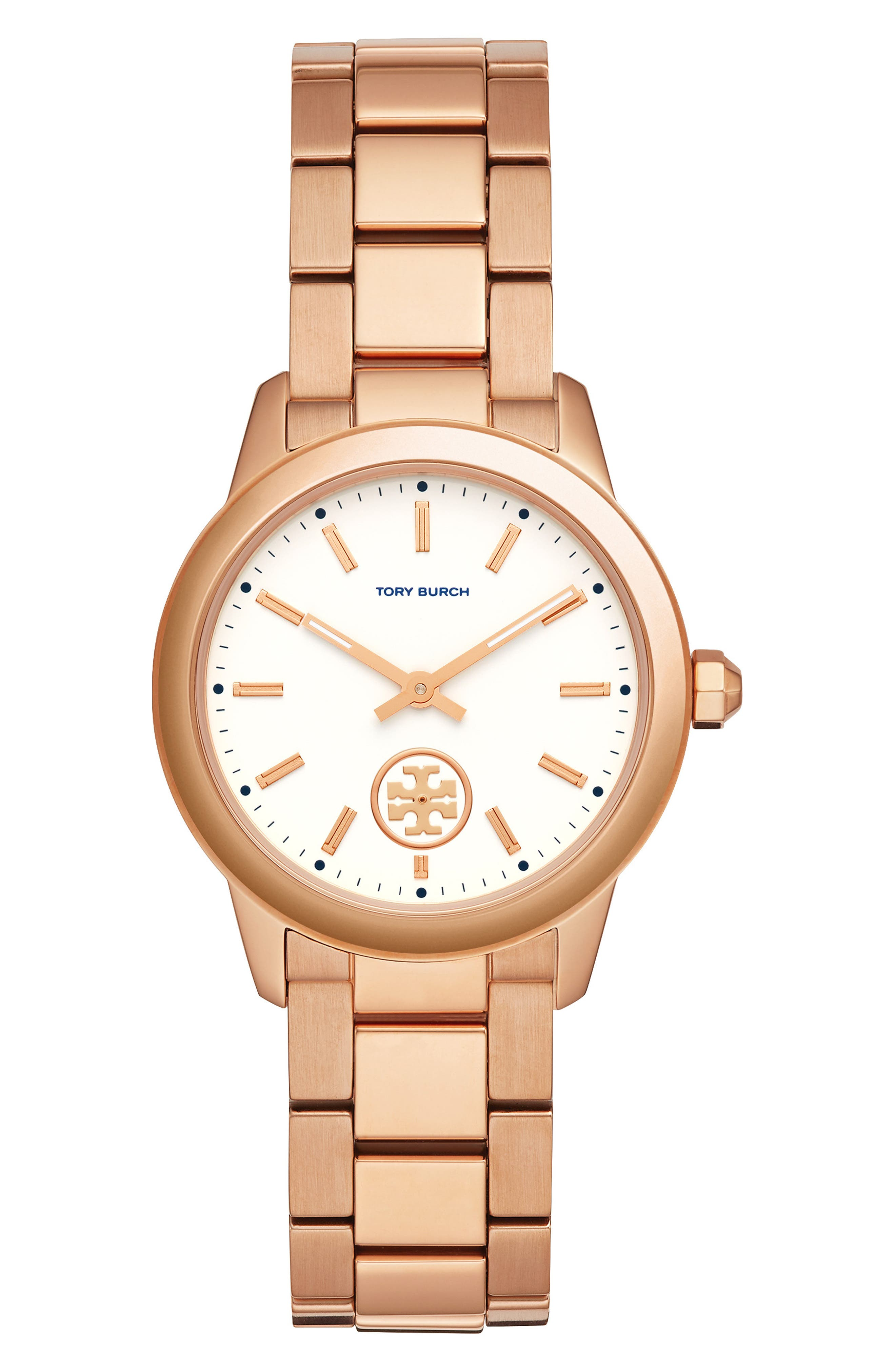 TORY BURCH,                             Collins Bracelet Watch, 38mm,                             Main thumbnail 1, color,                             ROSE GOLD/ WHITE/ ROSE GOLD