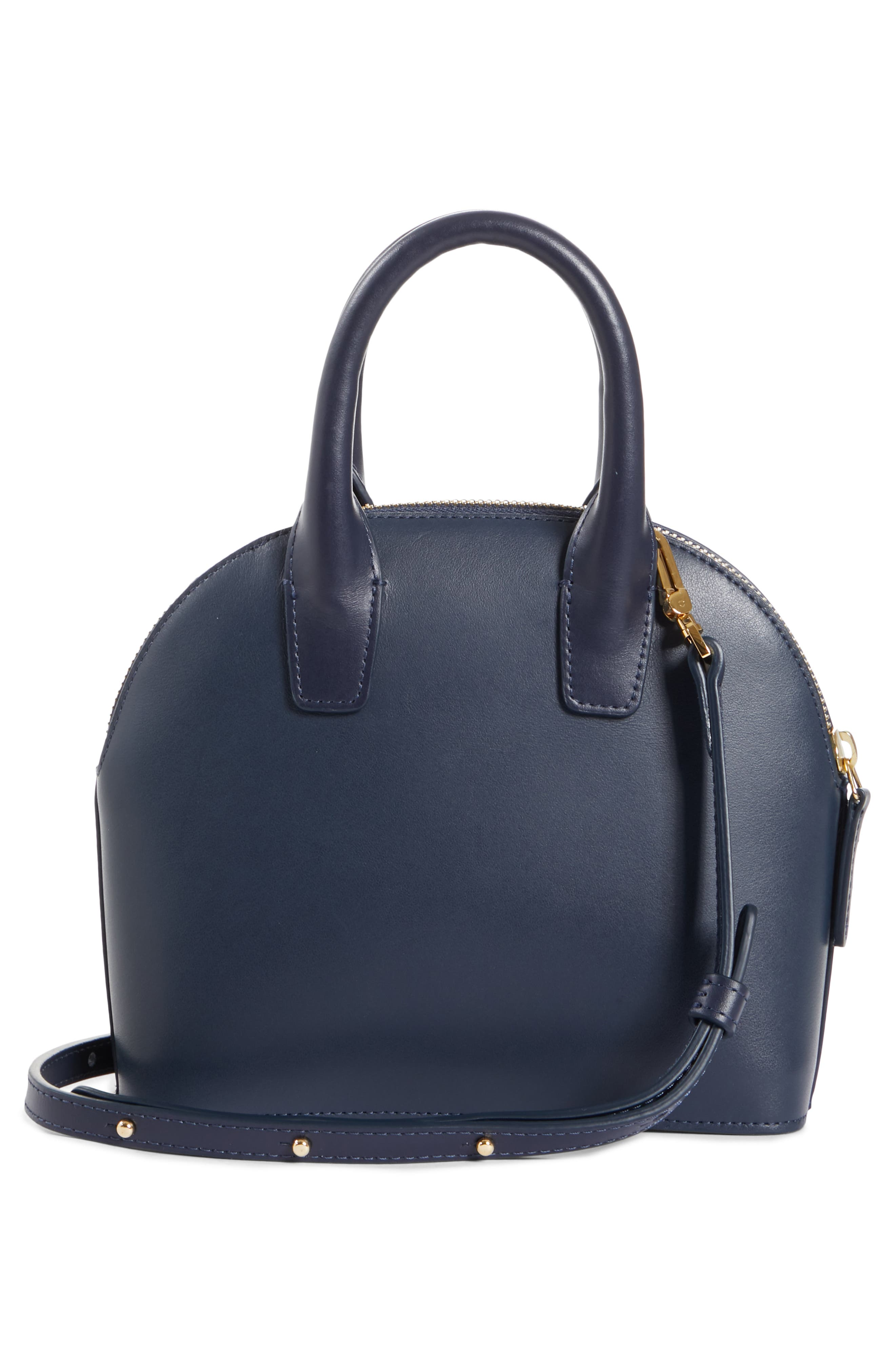 Mini Top Handle Rounded Leather Bag,                             Alternate thumbnail 3, color,                             BLU