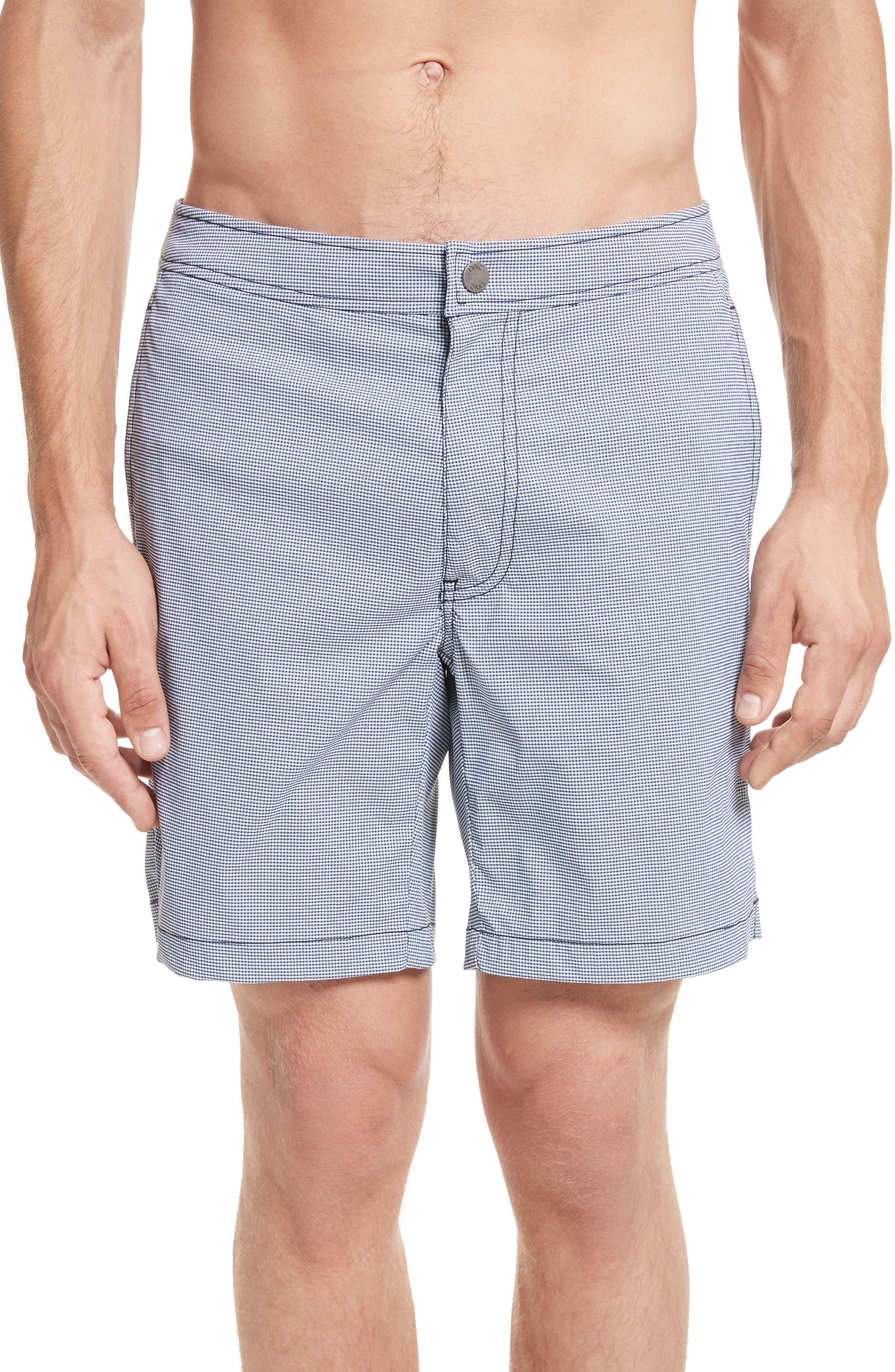 Calder Gingham Board Shorts,                             Main thumbnail 1, color,                             DEEP NAVY/WHITE