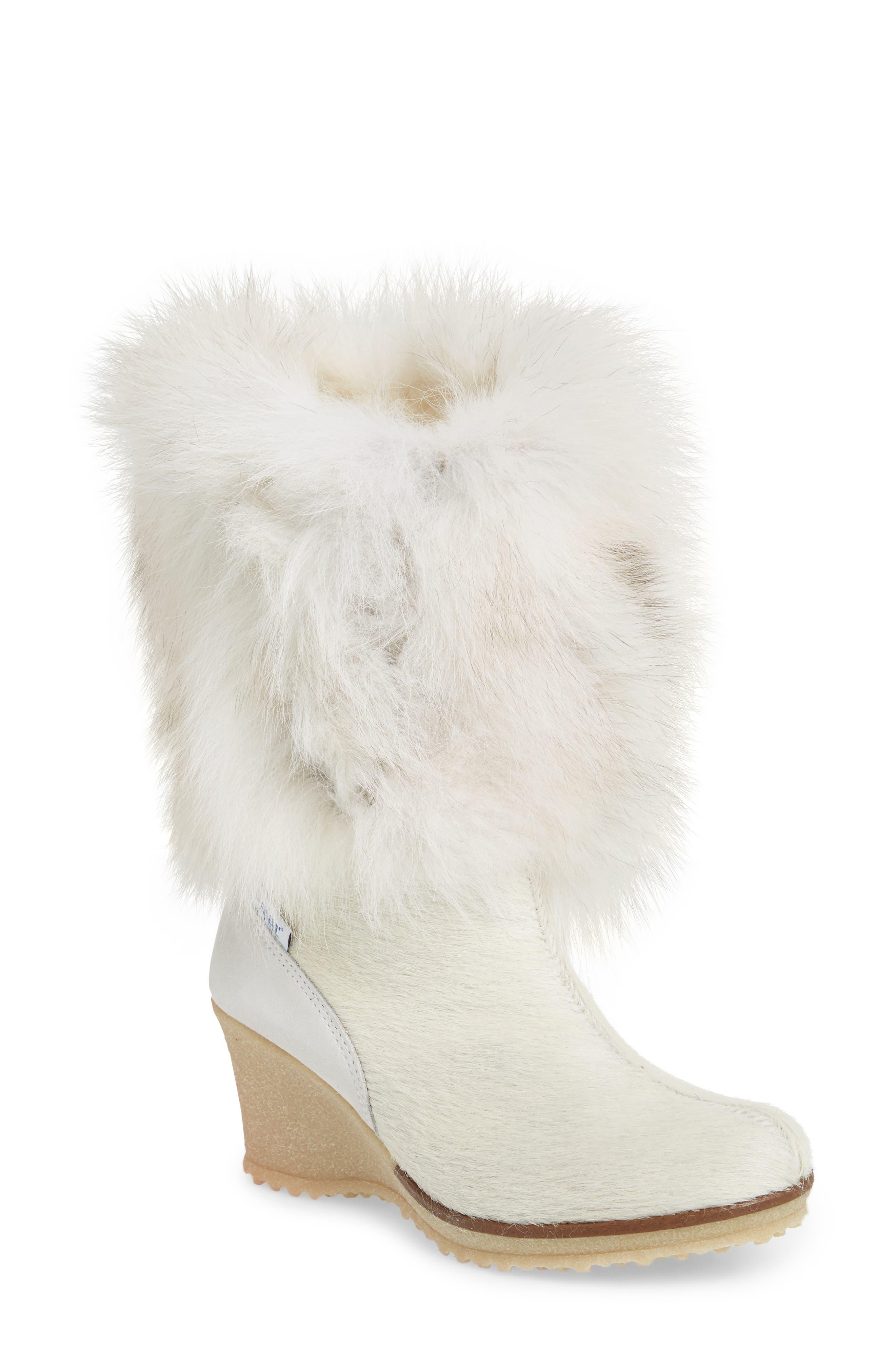Angelina Genuine Fox Fur Wedge Boot,                             Main thumbnail 2, color,