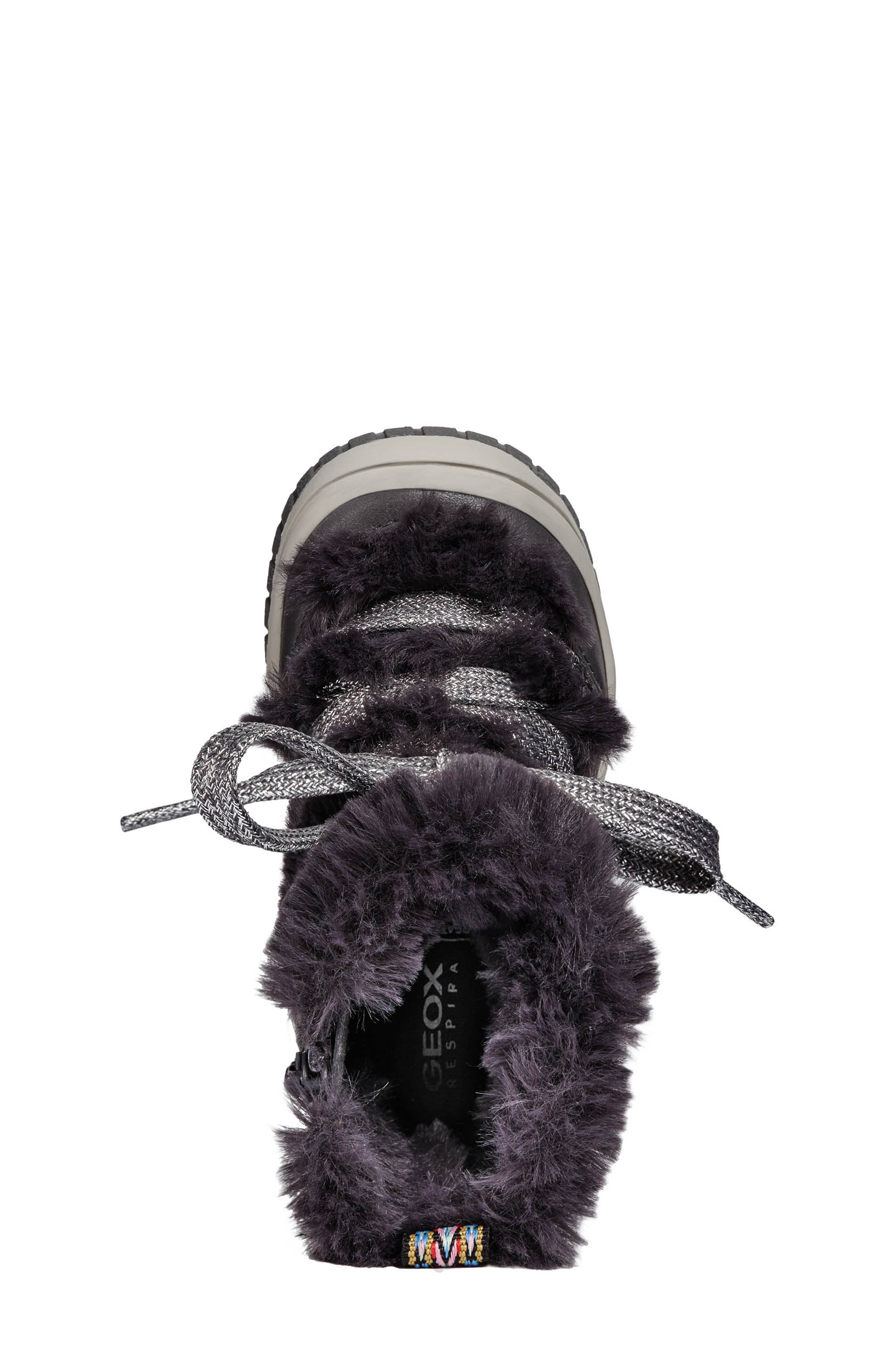 Omar Lace Up Boot with Faux Fur Trim,                             Alternate thumbnail 5, color,                             DARK GREY