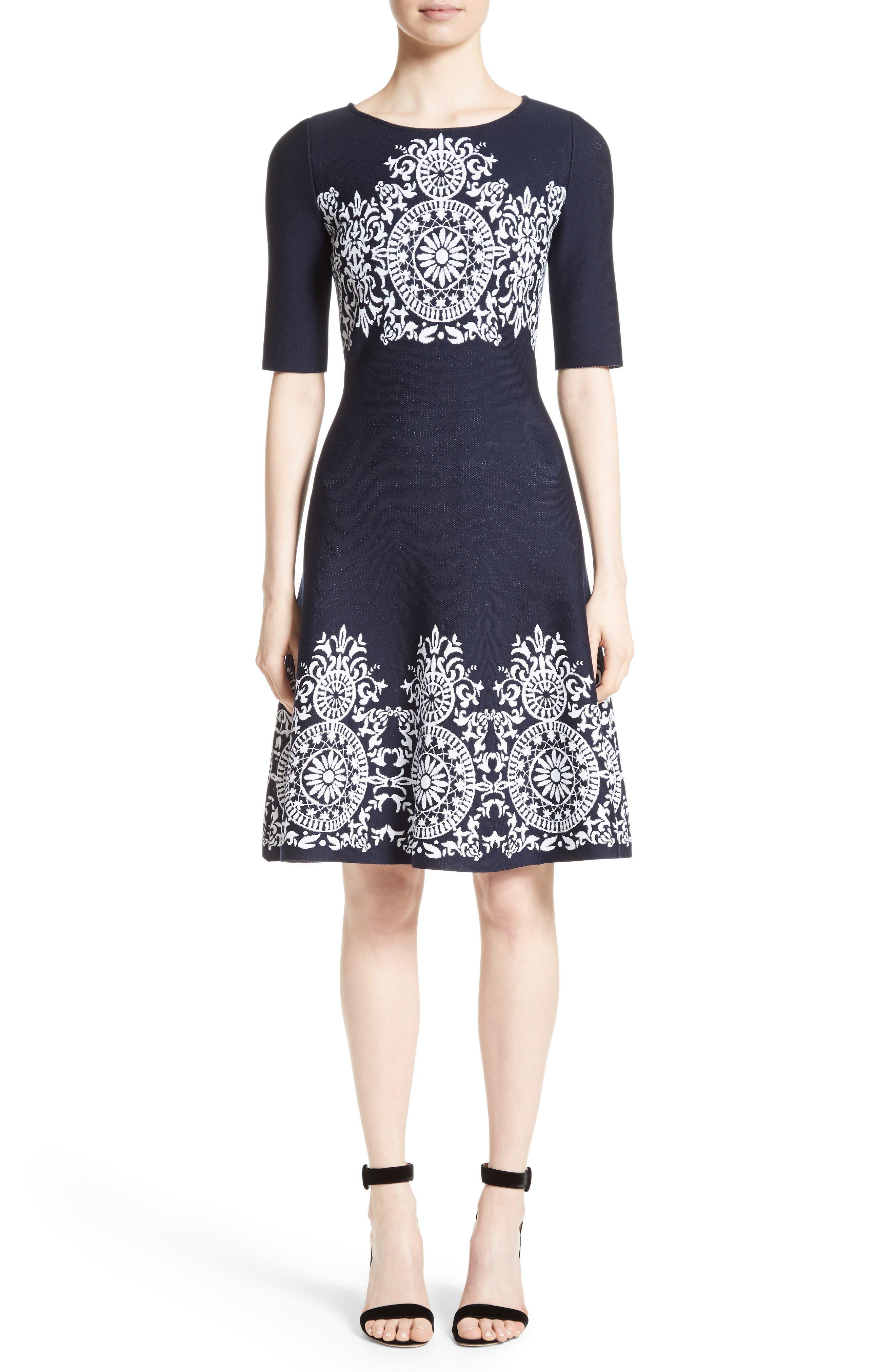 Nellore Jacquard Knit Fit & Flare Dress,                             Main thumbnail 1, color,                             410