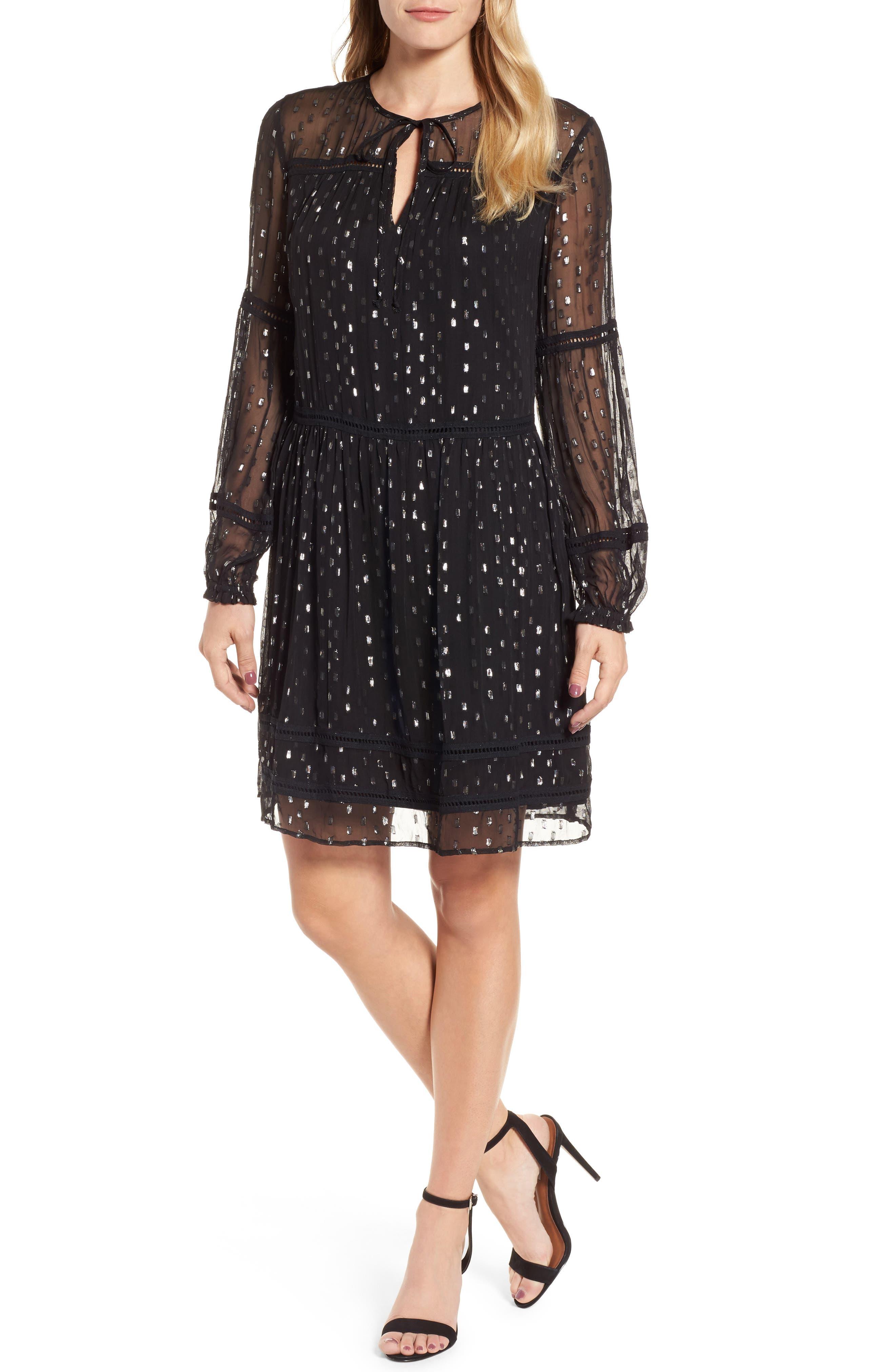 Split Neck Chiffon Dress,                             Main thumbnail 1, color,                             040